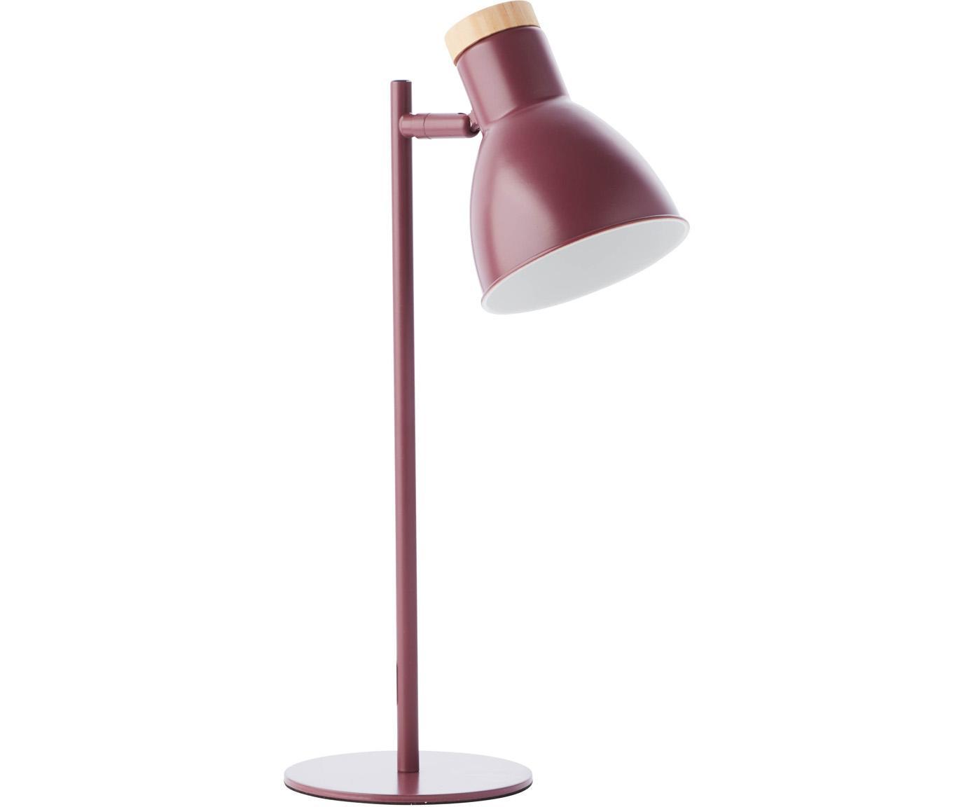 Schreibtischlampe Venea mit Holz-Dekor, Lampenschirm: Metall, Dekor: Holz, Dunkelrosa, Braun, Ø 15 x H 47 cm