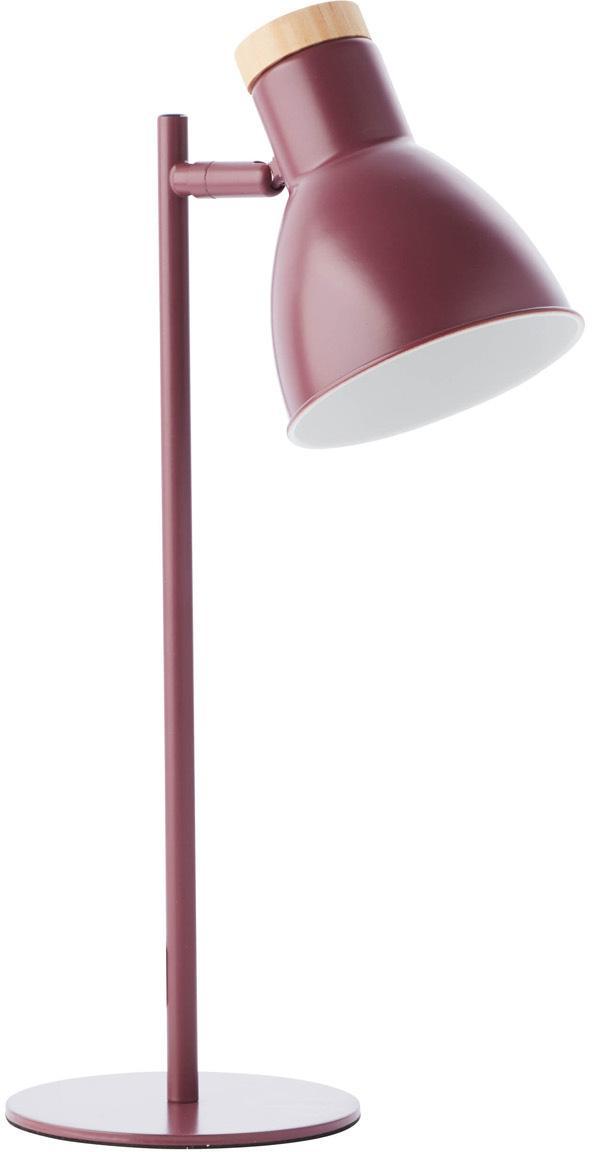 Tafellamp Venea met houten decoratie, Lampenkap: metaal, Lampvoet: metaal, Decoratie: hout, Donkerroze, bruin, Ø 15 cm