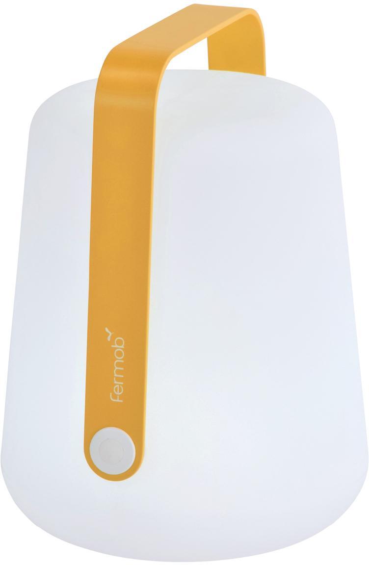 Lampada portatile a LED da esterno Balad, Paralume: polietilene altamente tra, Manico: alluminio verniciato, Giallo, Ø 19 x Alt. 25 cm