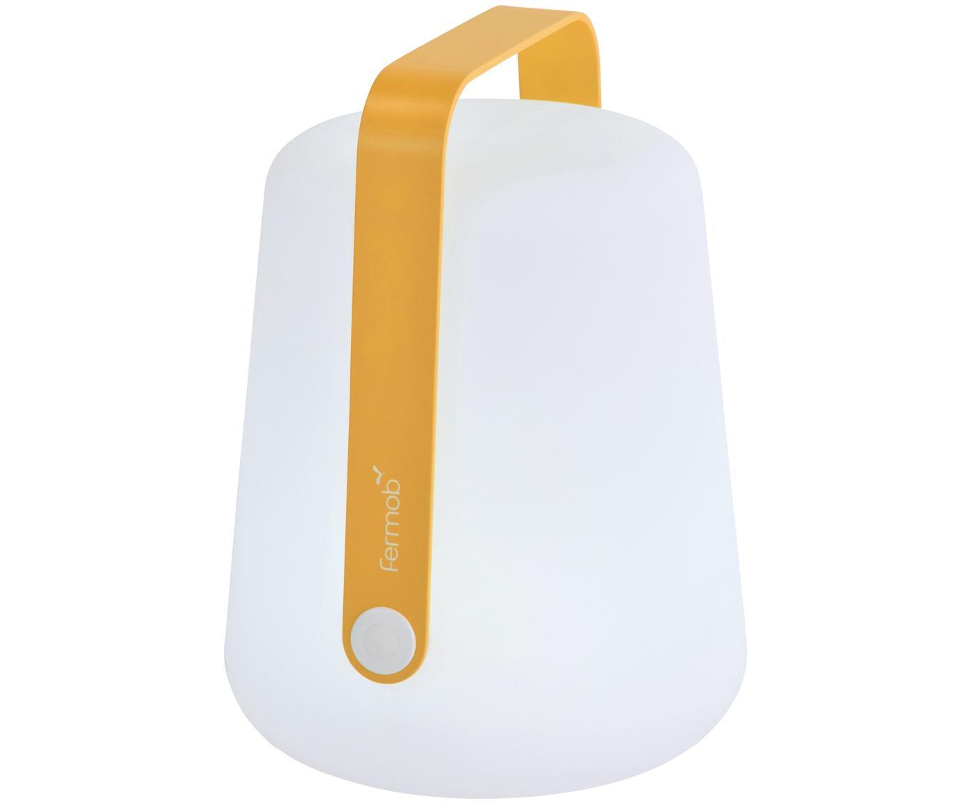Lámpara LED para exterior Balad, portátil, Lámpara: polietileno, tratado para, Asa: aluminio, pintado, Amarillo, Ø 19 x Al 25 cm