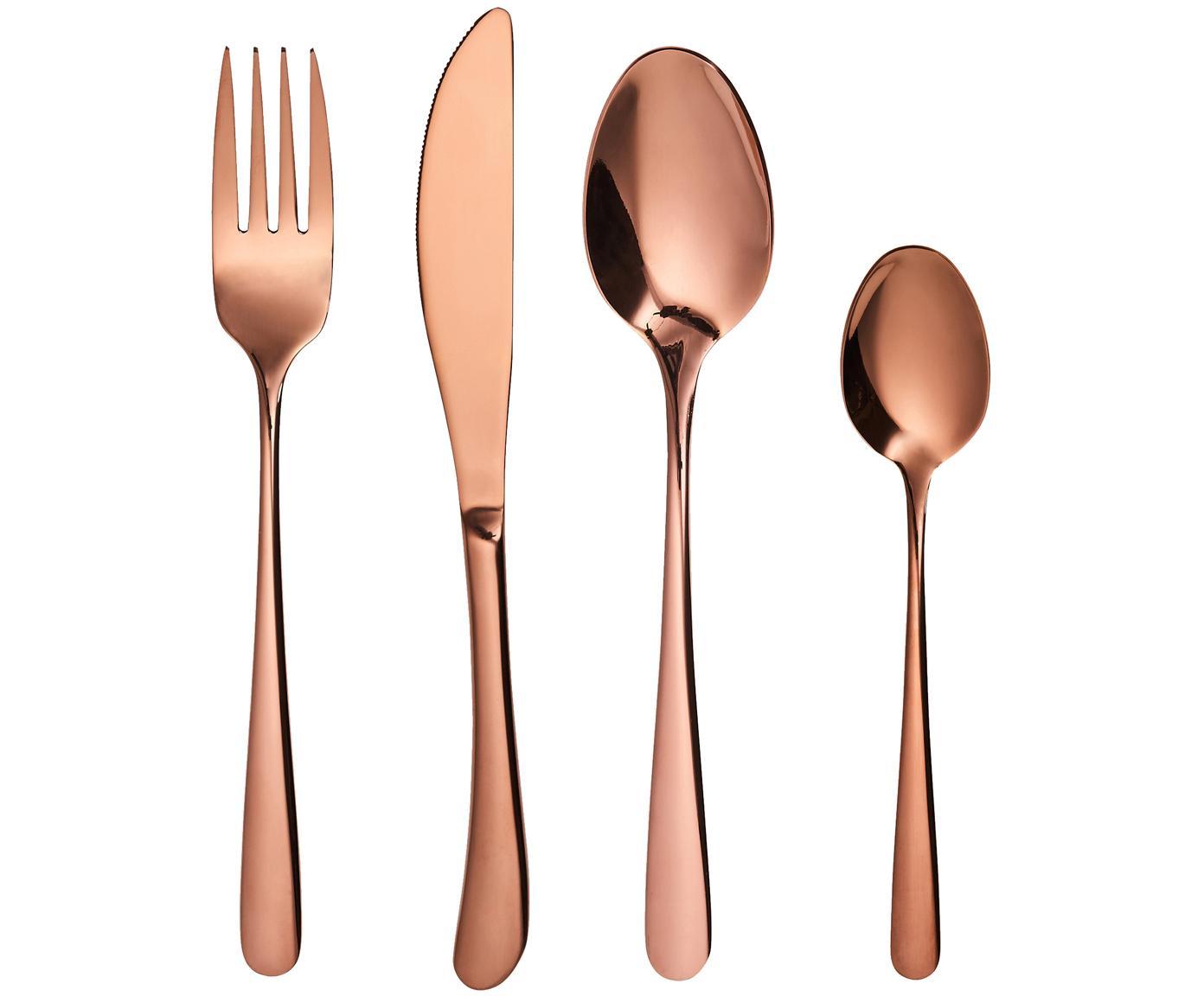 Set 4 posate rosa dorate in acciaio inossidabile Queens, Acciaio inossidabile rivestito, Rosa dorato, Diverse dimensioni