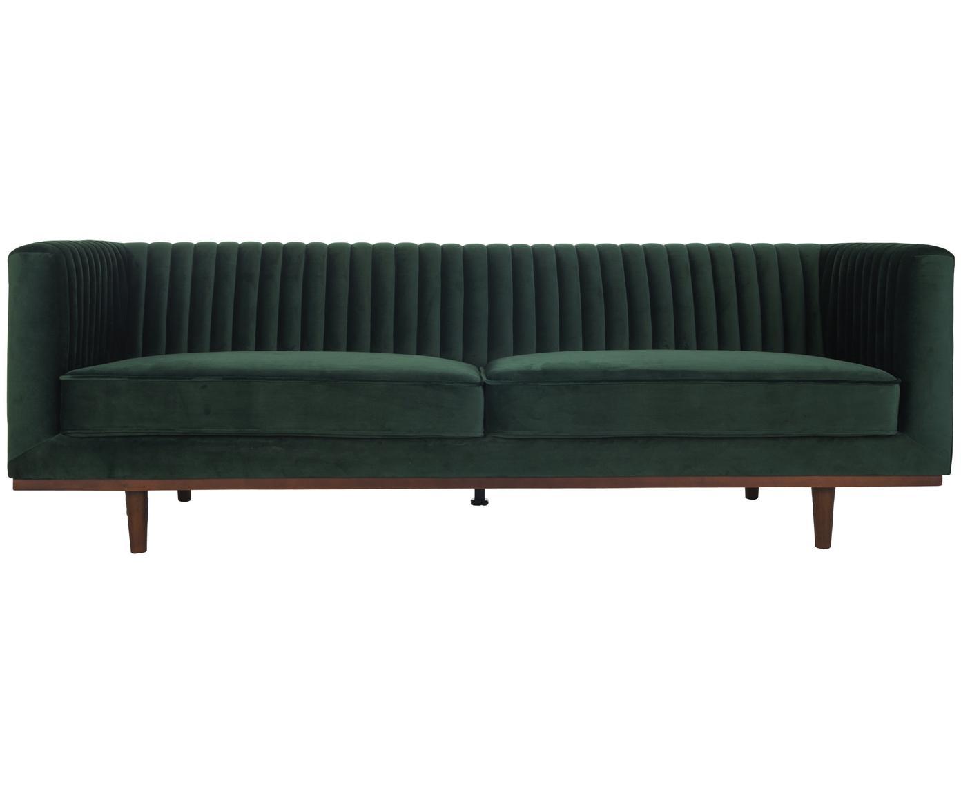 Divano 3 posti in velluto verde scuro Dante, Rivestimento: velluto di poliestere, Struttura: legno di caucciù, laccato, Velluto verde, Larg. 210 x Prof. 87 cm