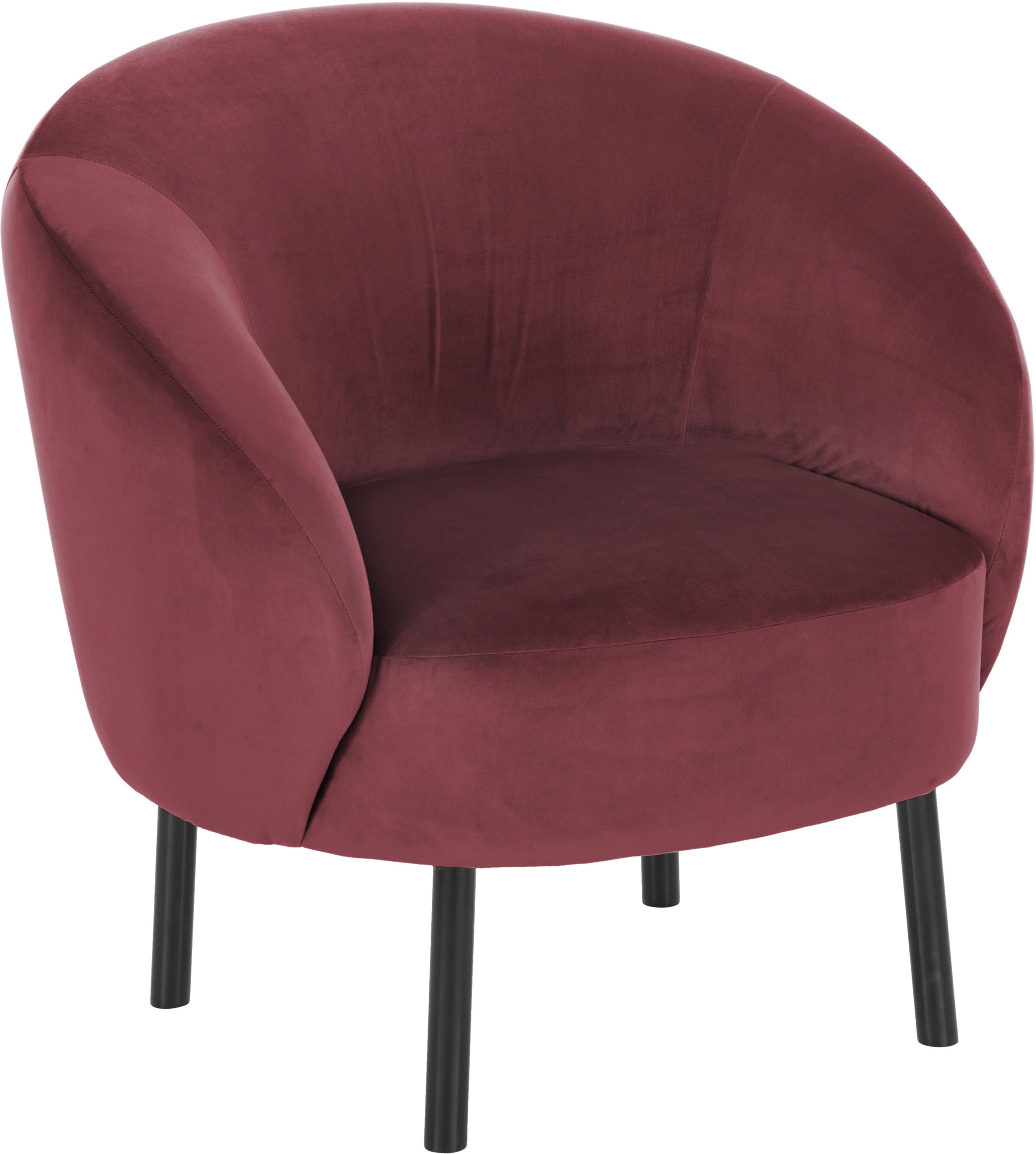 Fluwelen fauteuil Freja, Bekleding: fluweel (polyester), Poten: gepoedercoat metaal, Fluweel donkerrood, B 65 x D 72 cm