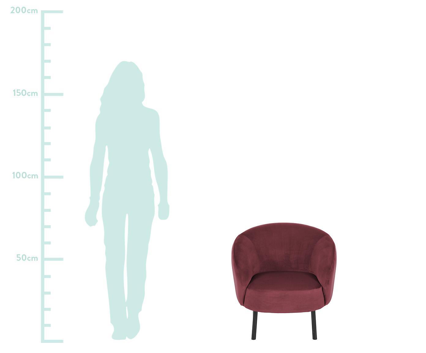 Samt-Cocktailsessel Freja, Bezug: Samt (Polyester) 30.000 S, Füße: Metall, pulverbeschichtet, Samt Dunkelrot, B 65 x T 72 cm