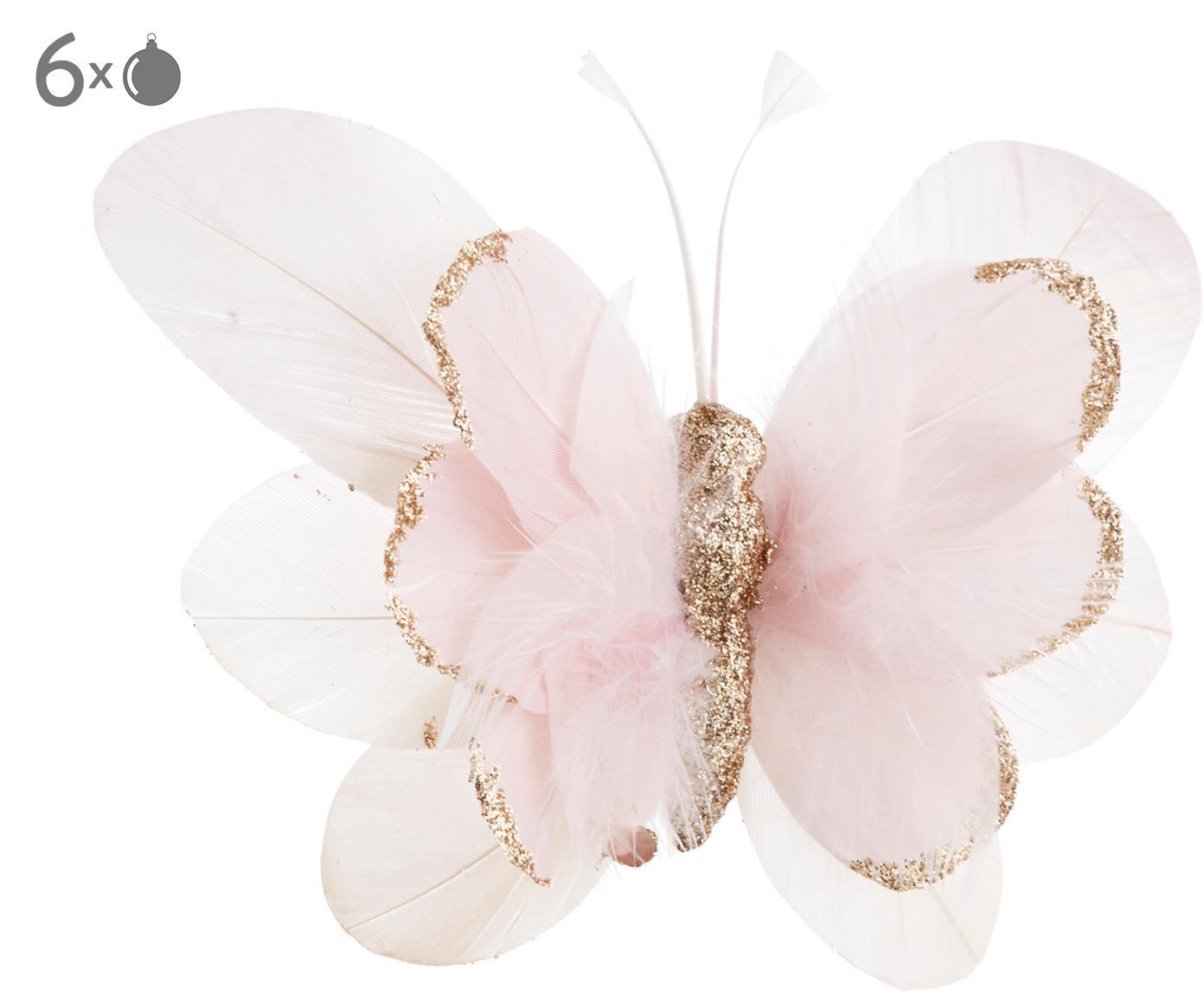 Baumanhänger Butterfly, 6 Stück, Rosa, Weiss, Goldfarben, 14 x 3 cm
