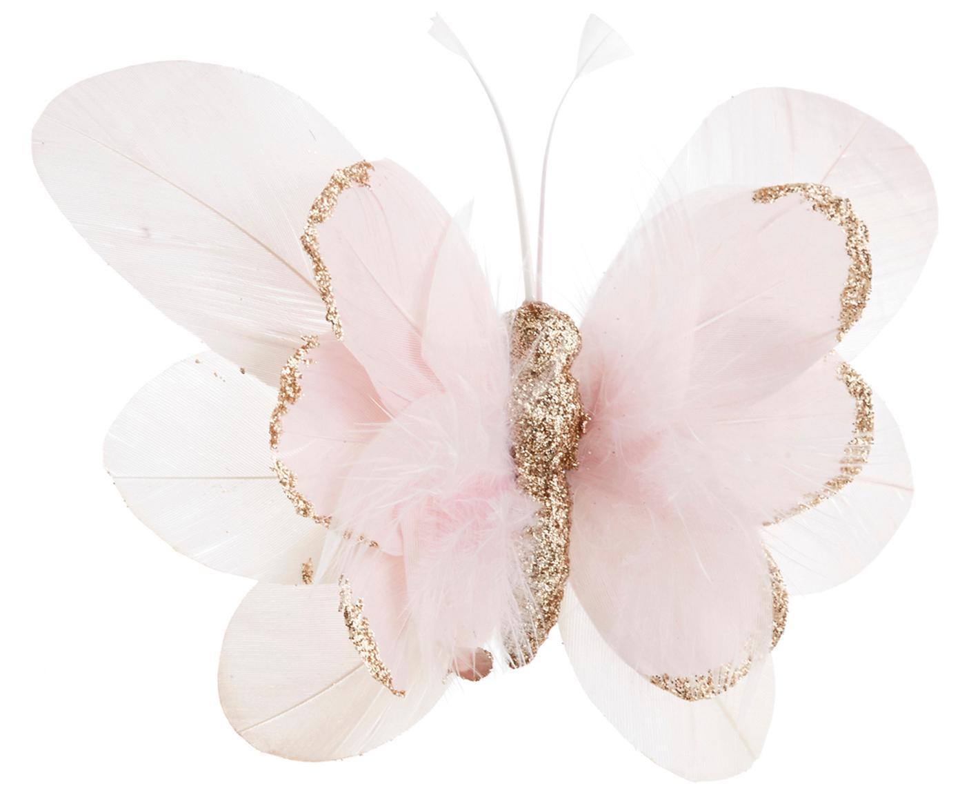 Kerstboomhanger Butterfly, 6 stuks, Roze, wit, goudkleurig, 14 x 3 cm