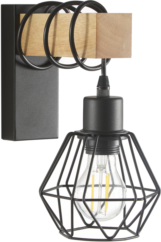 Wandlamp Townshend, Zwart, houtkleurig, 14 x 25 cm
