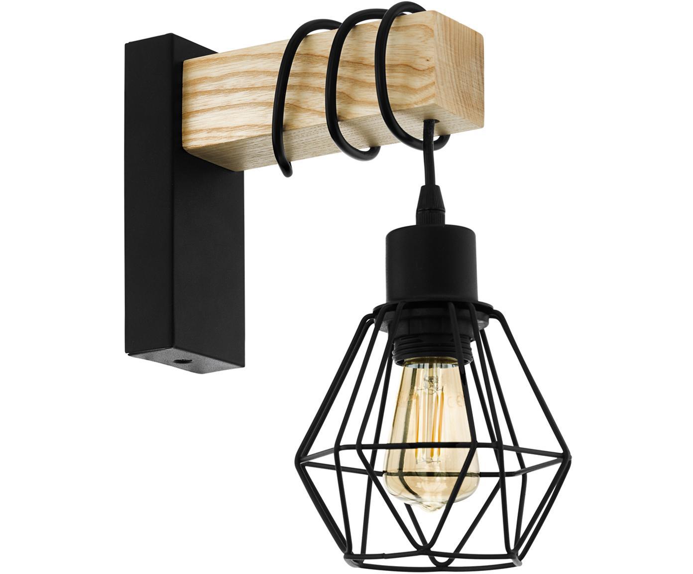 Lampada da parete Townshend, Nero, legno, Larg. 14 x Alt. 25 cm