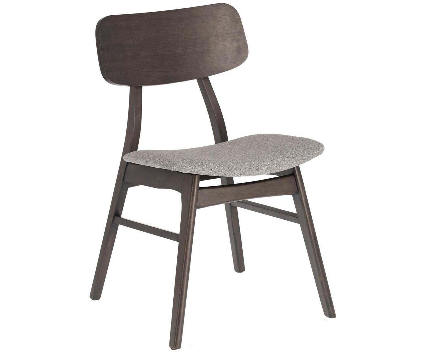 Houten stoelen Selia, 2 stuks, Frame: massief rubberhout, essen, Bekleding: polyester, Grijstinten, B 48 x D 53 cm