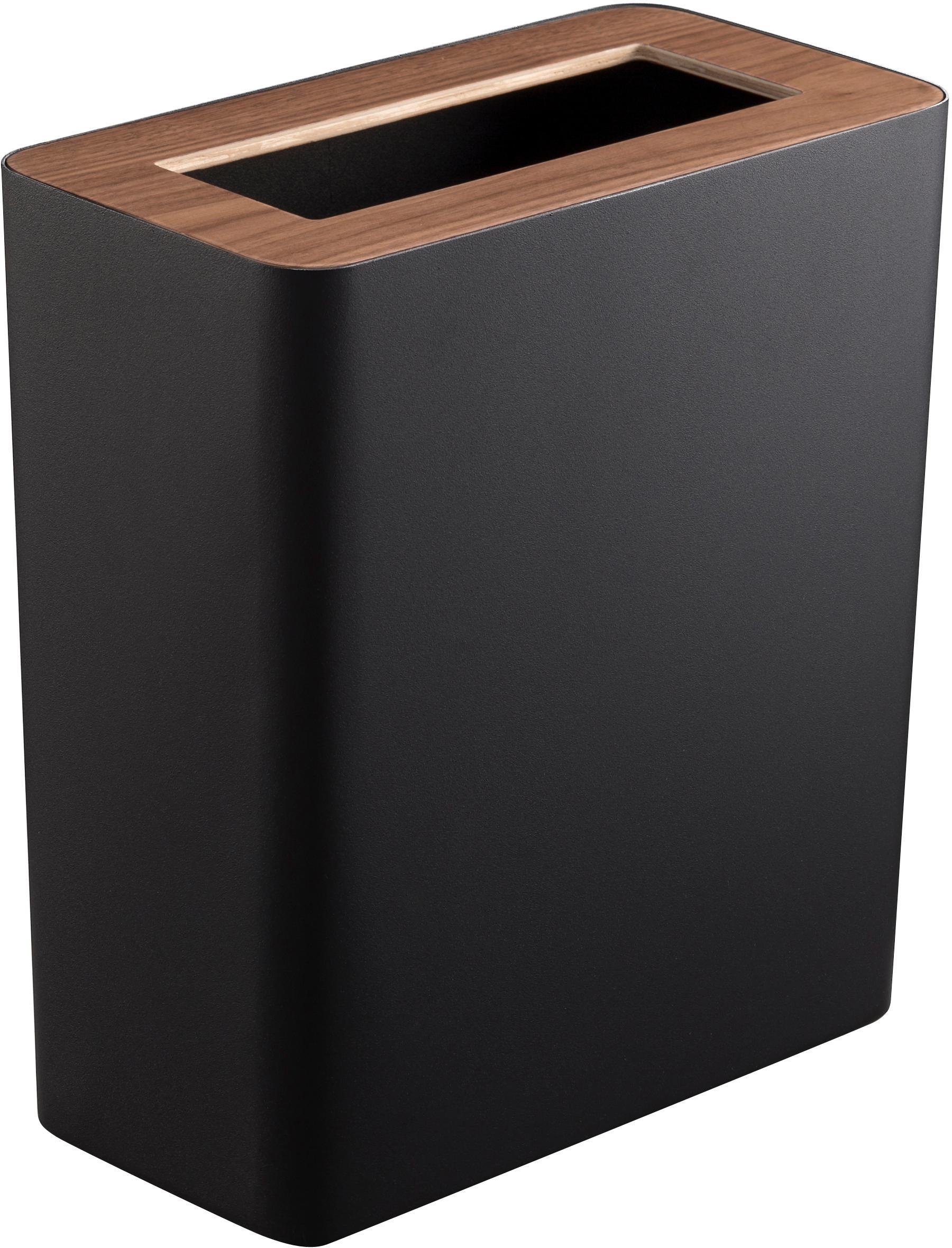 Cestino Rin in acciaio verniciato, Coperchio: legno, Nero, marrone scuro, Larg. 28 x Alt. 30 cm