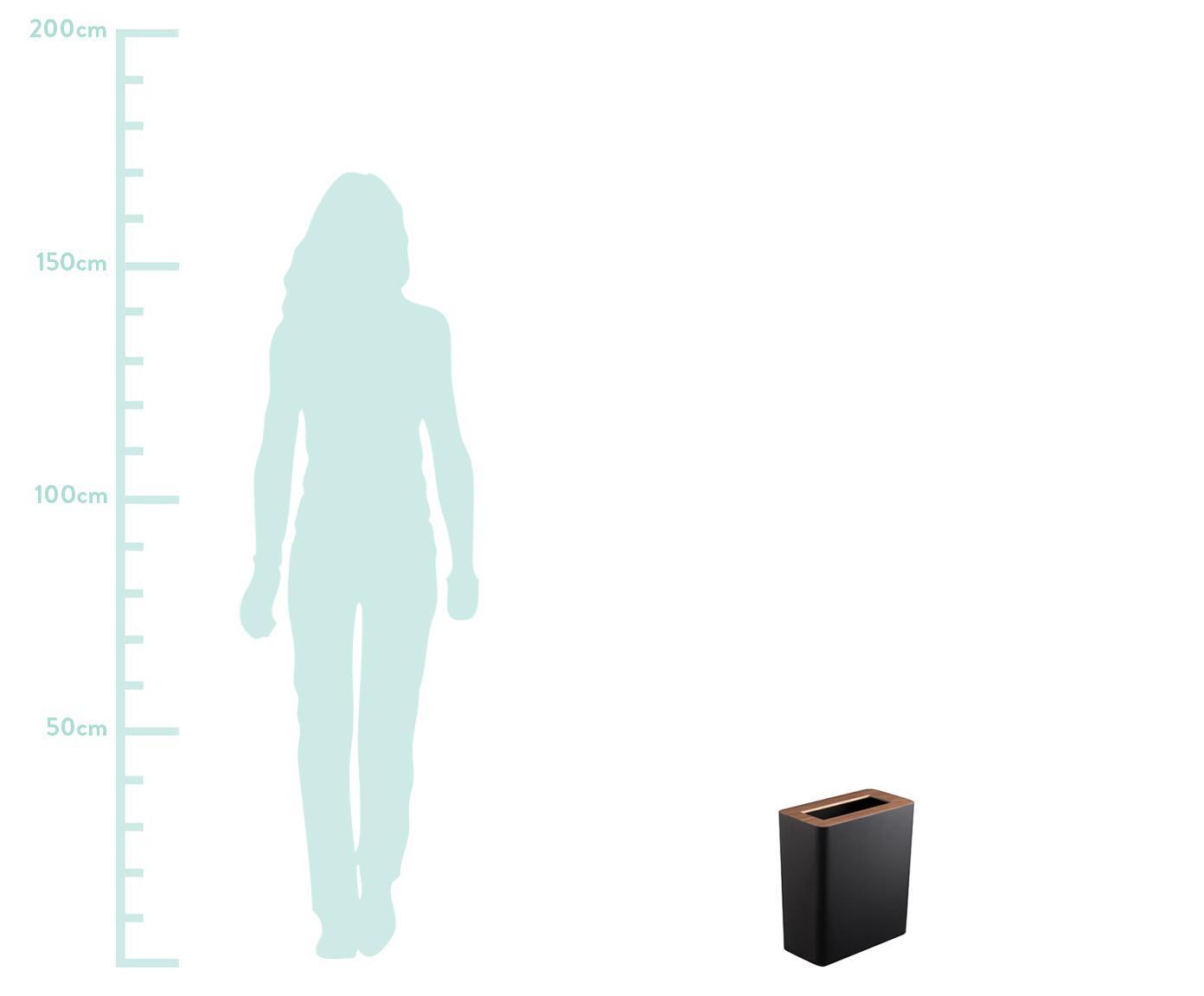 Afvalemmer Rin uit gelakt staal, Deksel: hout, Zwart, donkerbruin, 28 x 30 cm