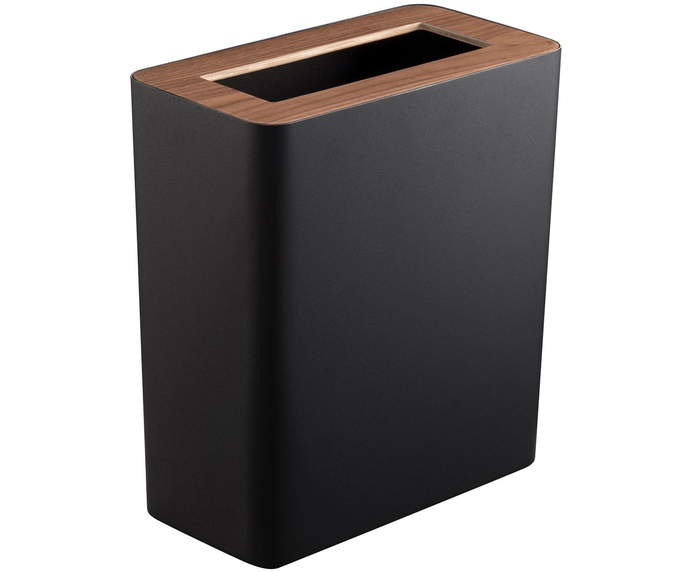 Papelera de acero pintado Rin, Negro, marrón oscuro, An 28 x Al 30 cm