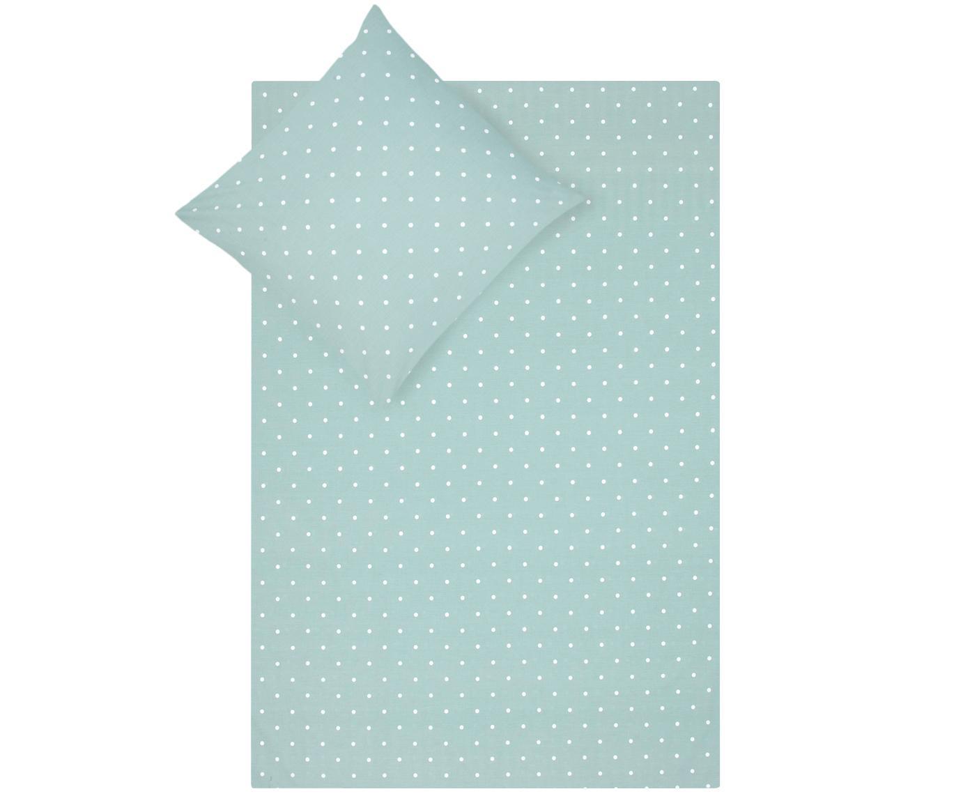 Gepunktete Baumwoll-Bettwäsche Dotty in Grün/Weiß, Webart: Renforcé Fadendichte 144 , Salbeigrün, Weiß, 240 x 220 cm + 2 Kissen 80 x 80 cm