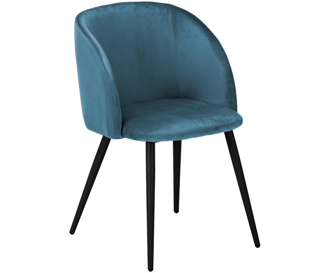 Krzesło tapicerowane z aksamitu Yoki, 2 szt., Tapicerka: aksamit (poliester) 2000, Nogi: metal malowany proszkowo, Tapicerka: niebieski Nogi: czarny, matowy, S 53 x G 57 cm