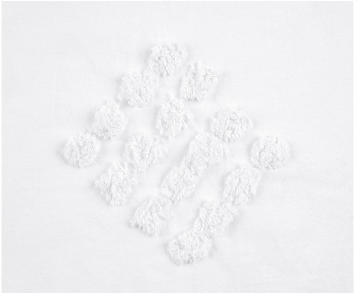 Pościel z perkalu  bawełnianego z tuftowaną dekoracją Fia, Biały, 200 x 200 cm