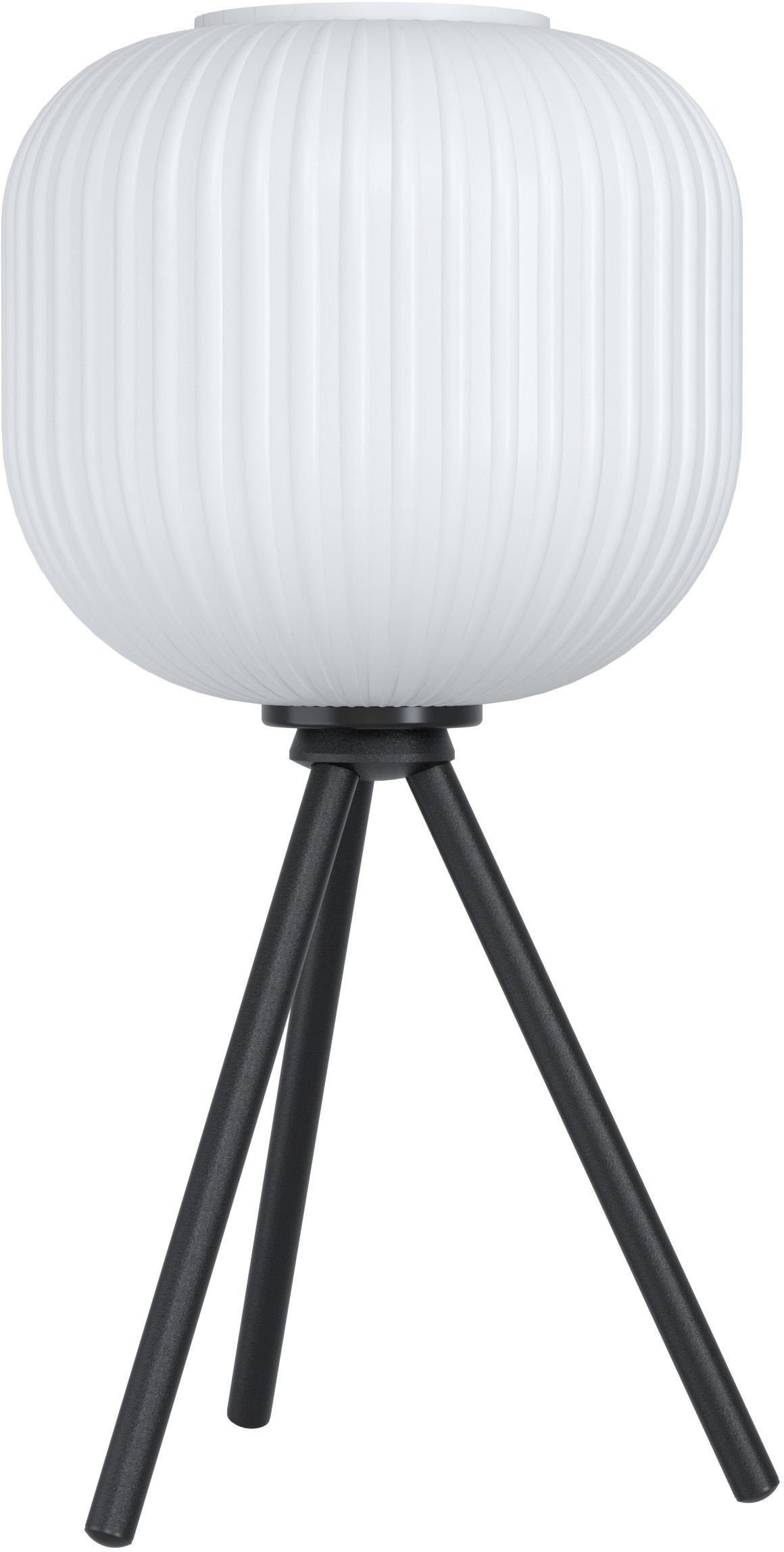 Tafellamp Mantunalle van opaalglas, Lampenkap: opaalglas, Lampvoet: gelakt metaal, Wit, zwart, Ø 20 cm