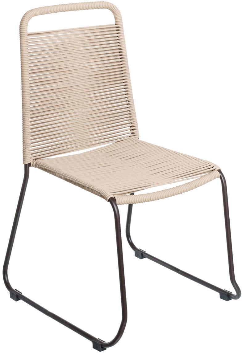 Gartenstühle Suture mit Kunststoff-Geflecht, 2 Stück, Gestell: Edelstahl, beschichtet, Beige, B 53 x T 53 cm