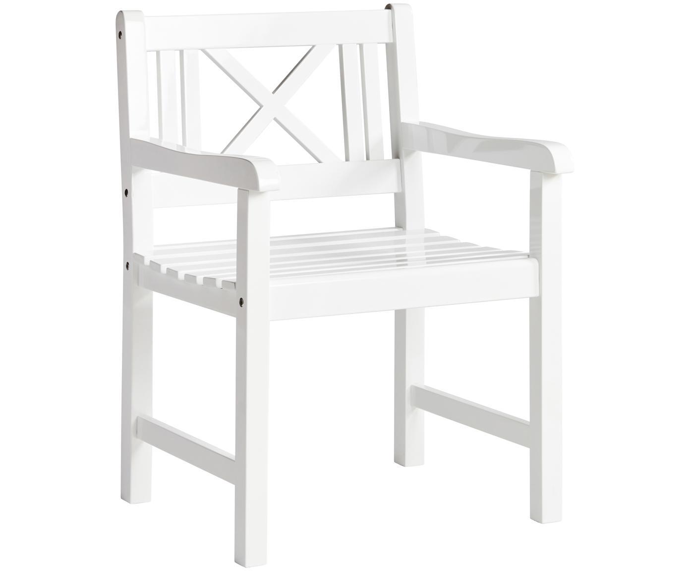 Sedia da giardino in legno Rosenborg, Legno di mogano, verniciato Possiede certificato V-legal, Bianco, Larg. 59 x Alt. 89 cm