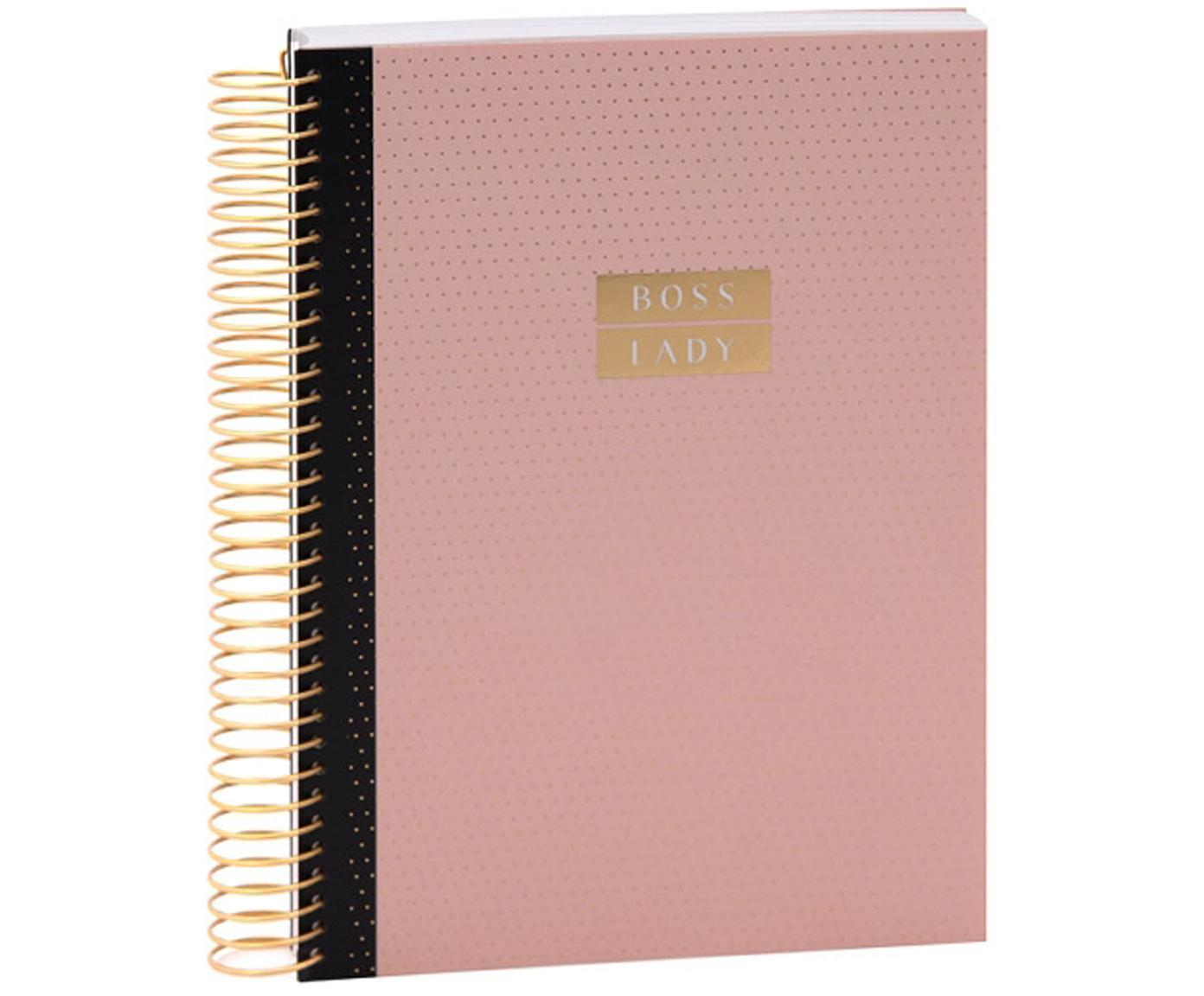 Quaderno a spirale Boss Lady, Rosa, dorato, Larg. 21 x Alt. 15 cm