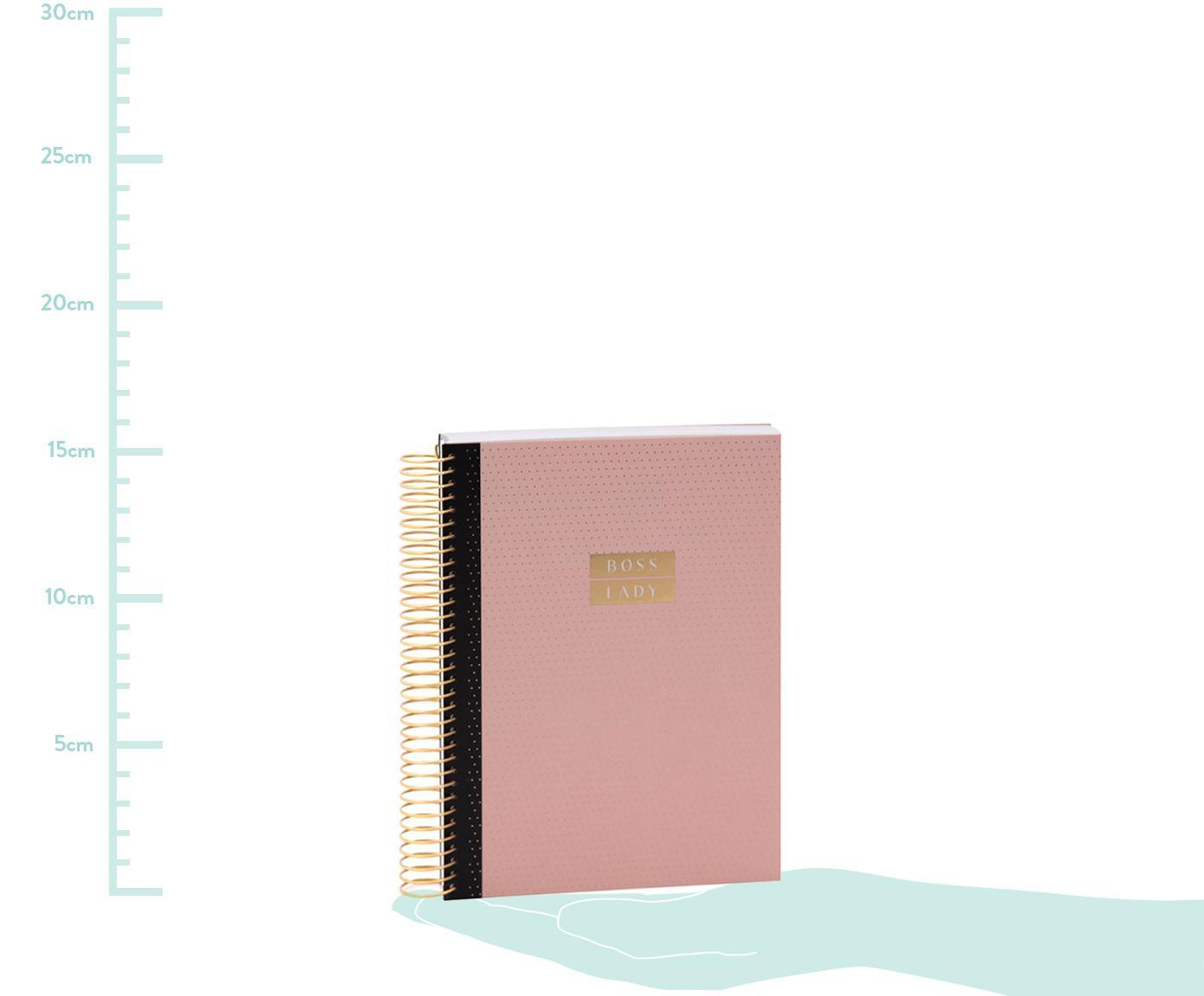 Notizbuch Boss Lady, Rosa, Goldfraben, 21 x 15 cm