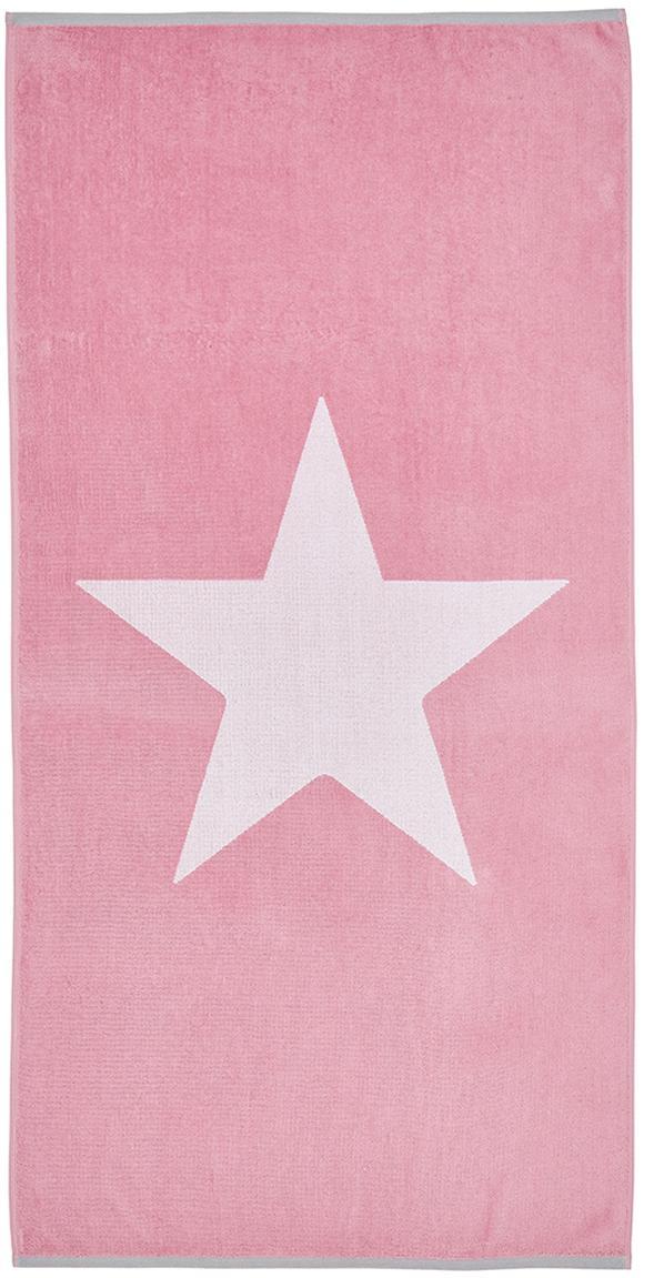 Strandtuch Spork mit Sternen-Motiv, 100% Baumwolle leichte Qualität 380 g/m², Pink, Weiss, 80 x 160 cm