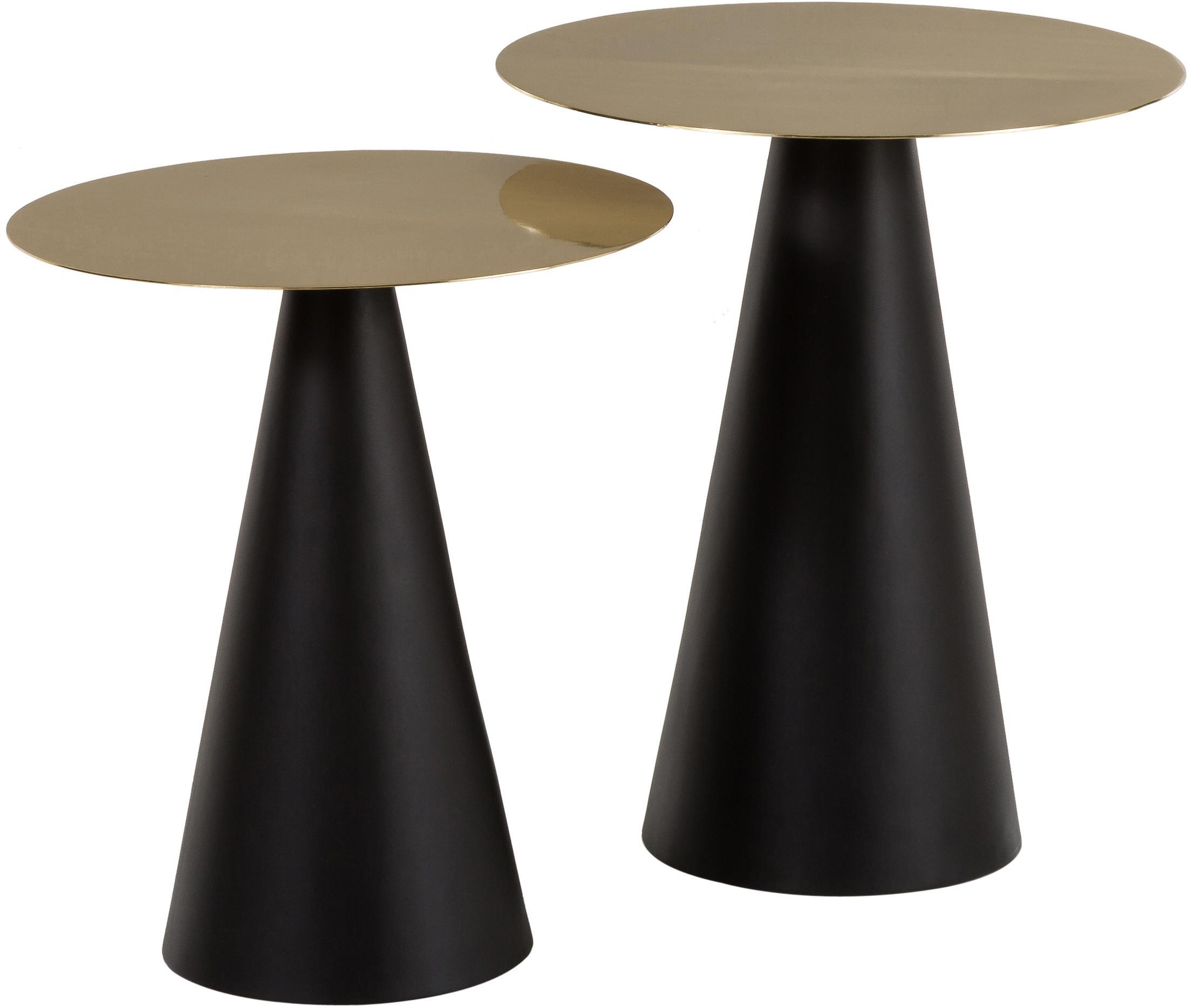 Set de mesas auxiliares Zelda, 2uds., Tablero: metal recubierto, Estructura: metal, pintura en polvo, Dorado, negro, Set de diferentes tamaños