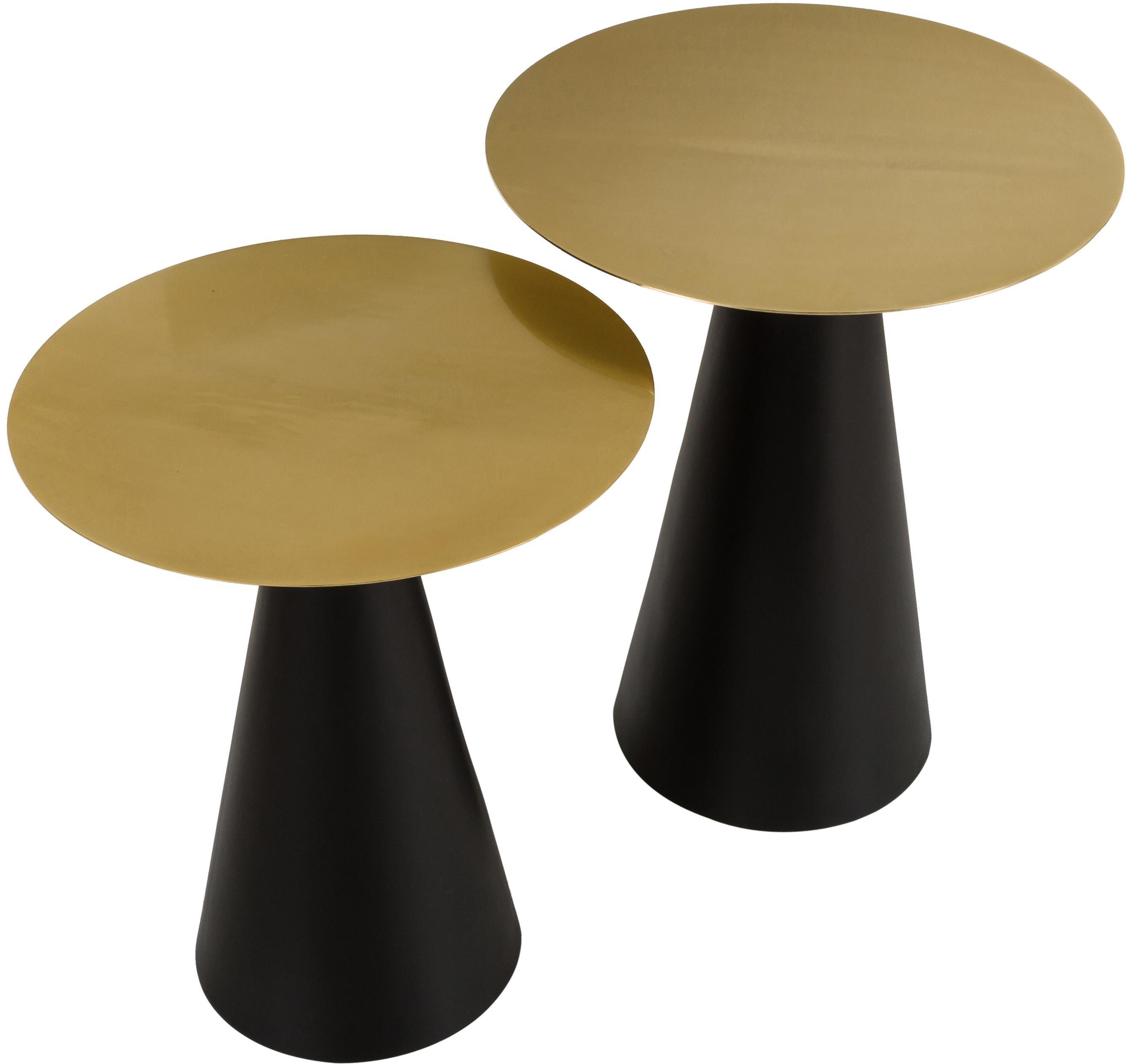 Set 2 tavolini in metallo Zelda, Struttura: metallo, verniciato a pol, Dorato, nero, Diverse dimensioni