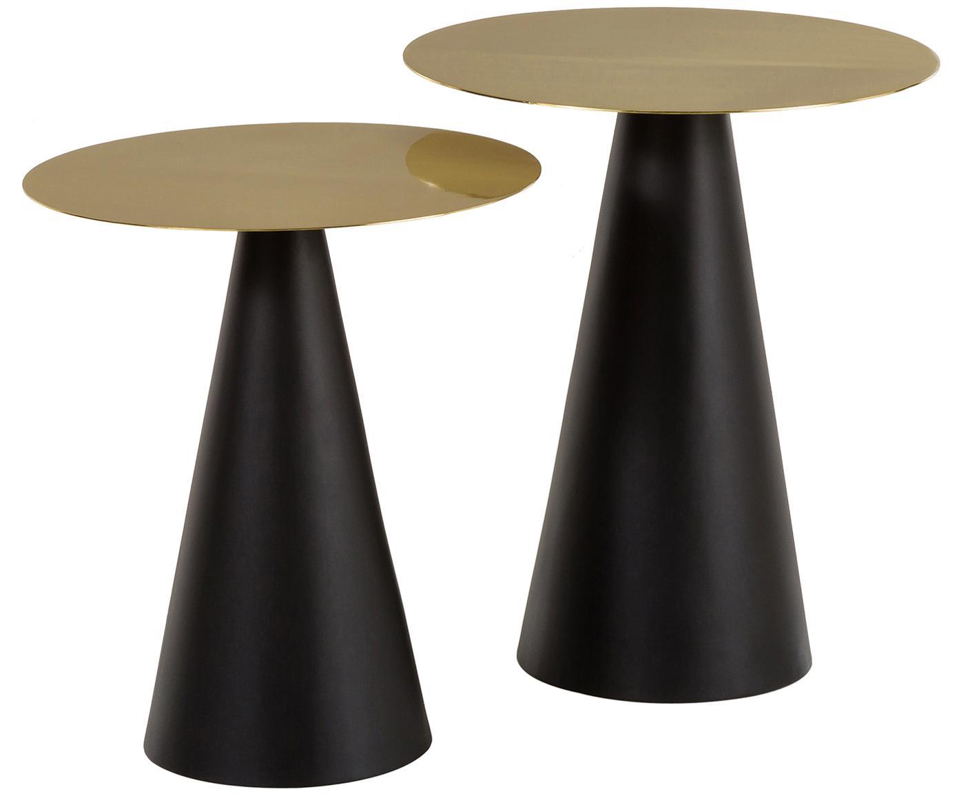 Set de mesas auxiliares Zelda, 2uds., Tablero: metal recubierto, Estructura: metal, pintura en polvo, Dorado, negro, Tamaños diferentes