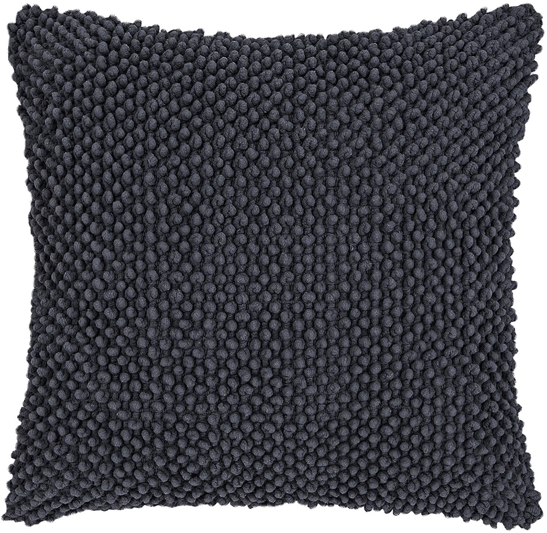 Federa arredo in cotone grigio scuro Indi, Cotone, Rivestimento: grigio Gambe: legno di faggio, tinto scuro, Larg. 45 x Lung. 45 cm