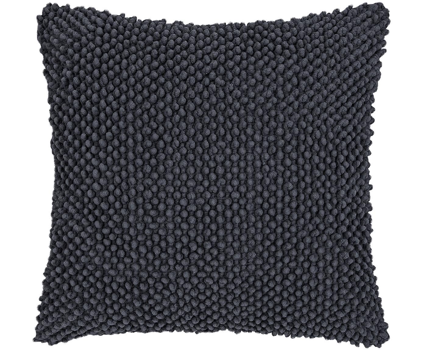 Funda de cojín texturizada Indi, Algodón, Gris oscuro, An 45 x L 45 cm