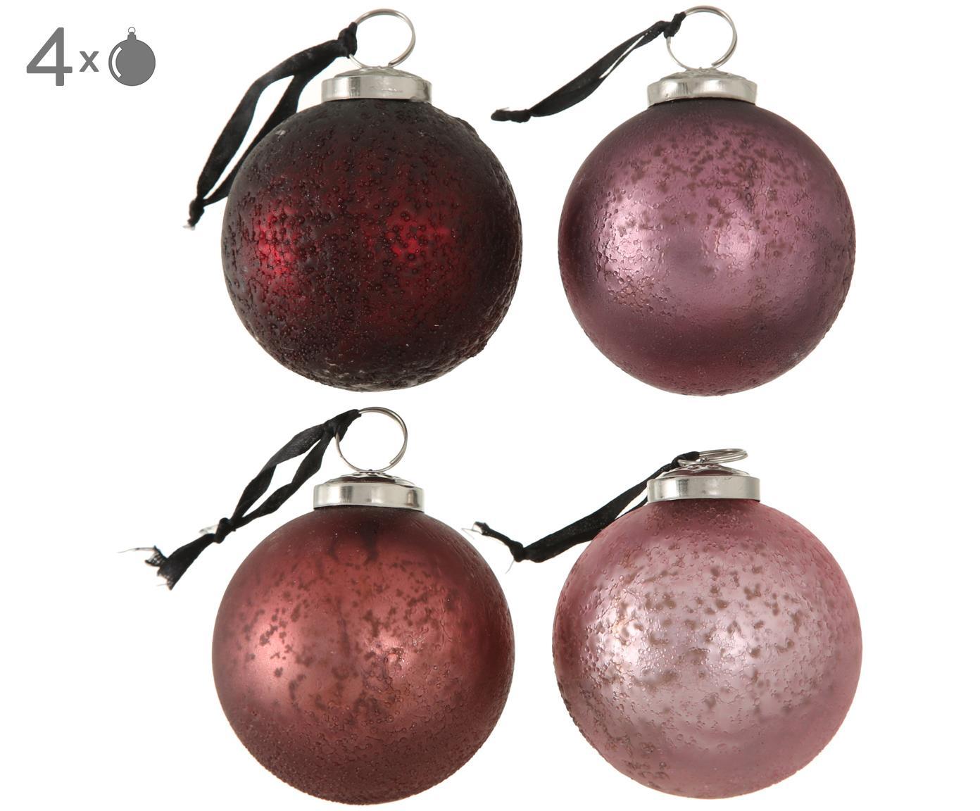Kerstballenset Amelia, 4-delig, Rozetinten, rood, Ø 8 cm