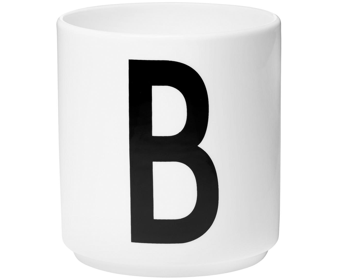 Design Becher Personal mit Buchstaben (Varianten von A bis Z), Fine Bone China (Porzellan), Weiss, Schwarz, Becher B