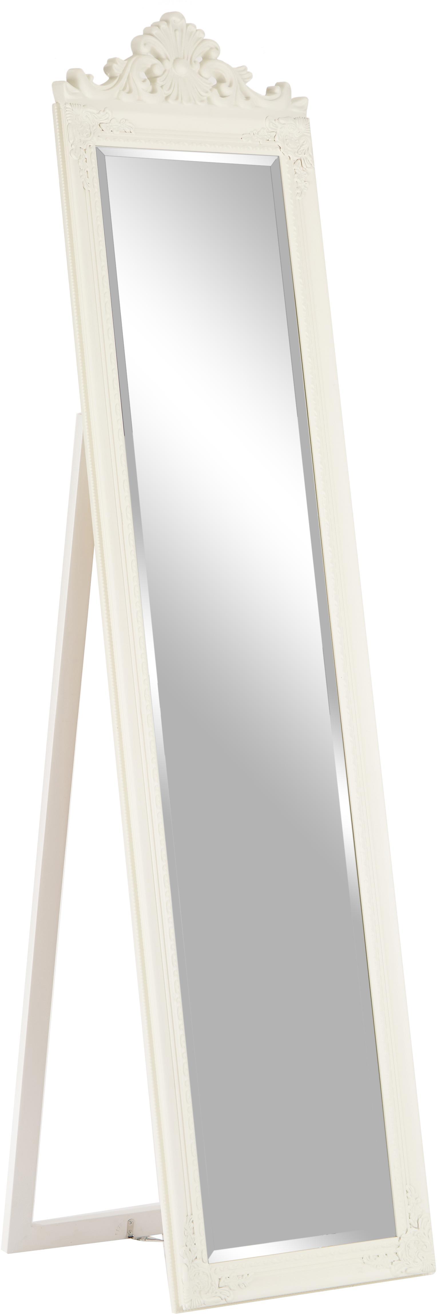 Specchio da terra con cornice in legno Lambeth, Cornice: legno di paulownia, polir, Superficie dello specchio: lastra di vetro, Bianco, Larg. 46 x Alt. 179 cm
