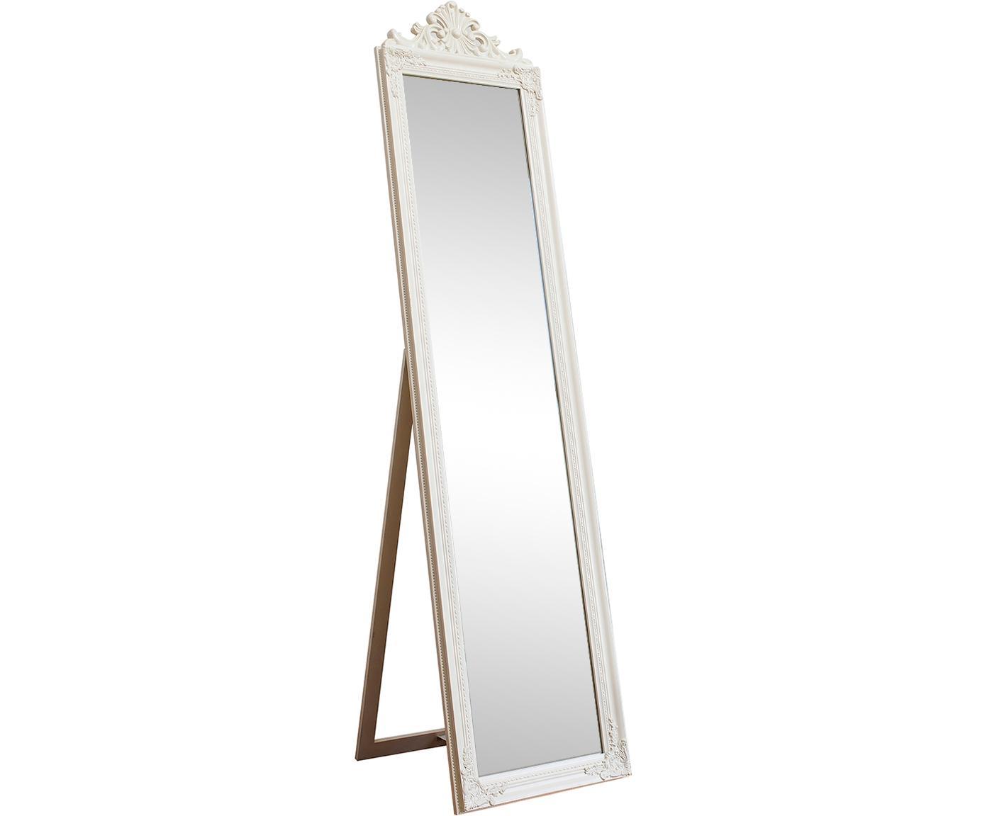 Vloerspiegel Lambeth met houten lijst, Lijst: paulowniahout, gelakt pol, Wit, 46 x 179 cm