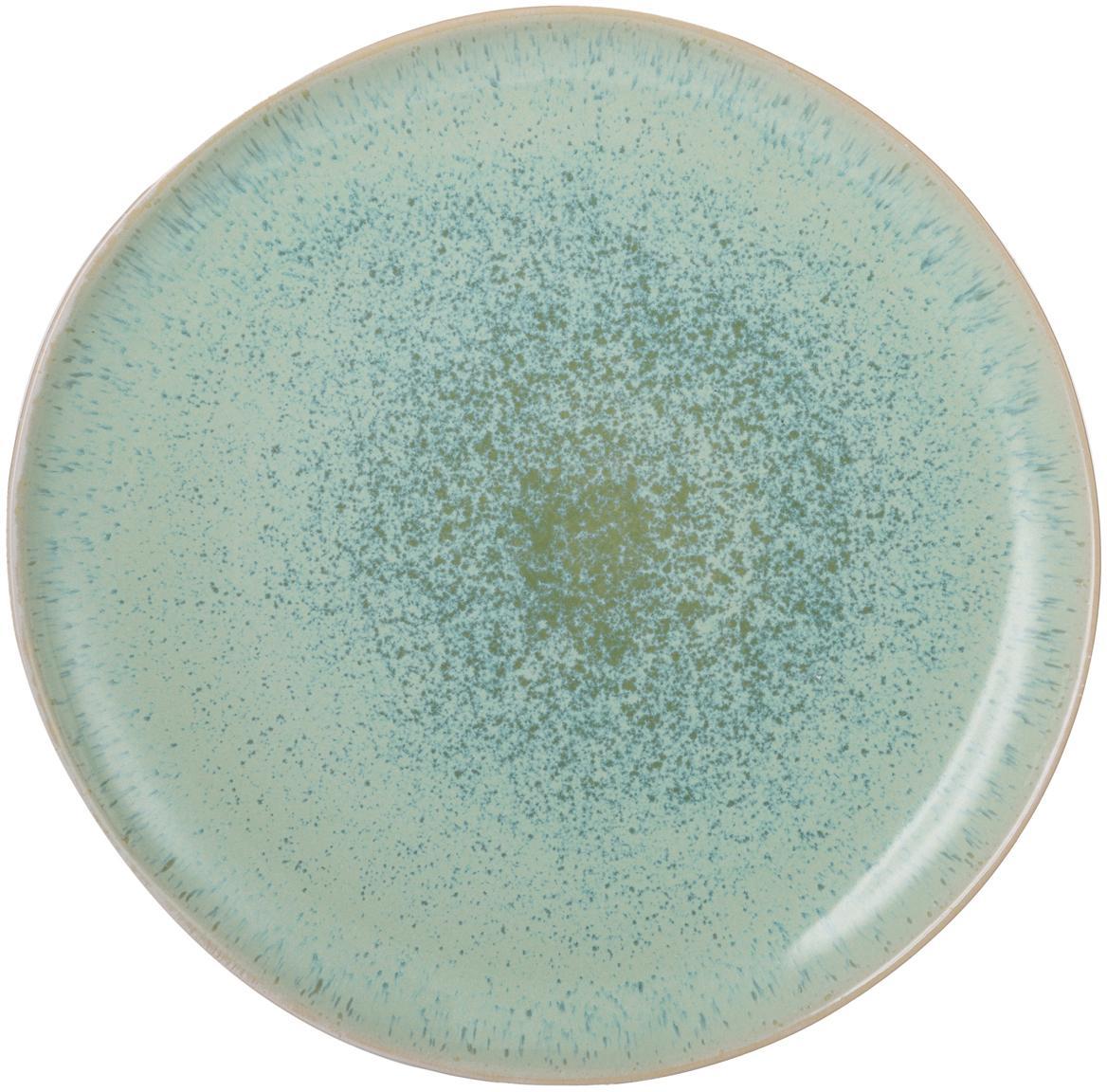 Plato llano artesanal Areia, Gres, Menta, blanco crudo, beige, Ø 28 cm