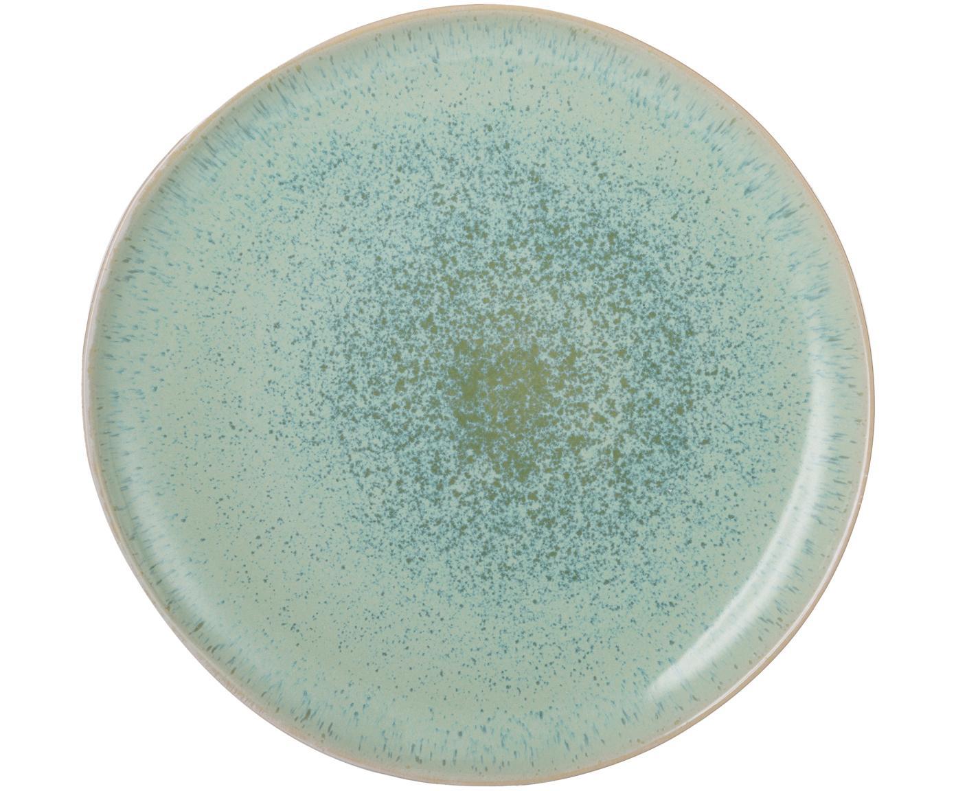 Handgeschilderd dinerbord Areia, Keramiek, Mintgroen, gebroken wit, beige, Ø 28 cm