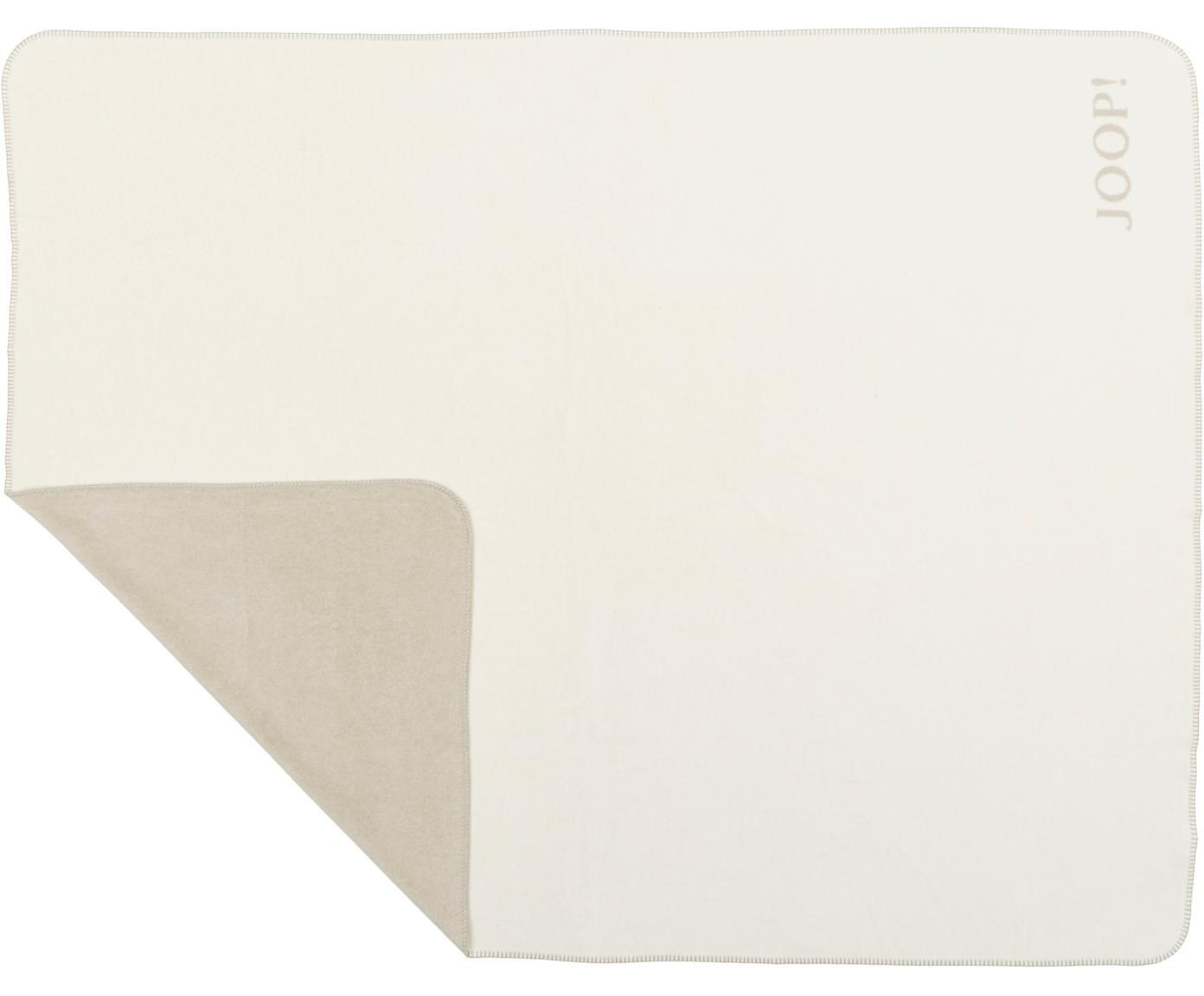 Dwustronny pled z polaru Doubleface, 58% bawełna, 35% poliakryl, 7% poliester, Beżowy, kremowy, S 150 x D 200 cm
