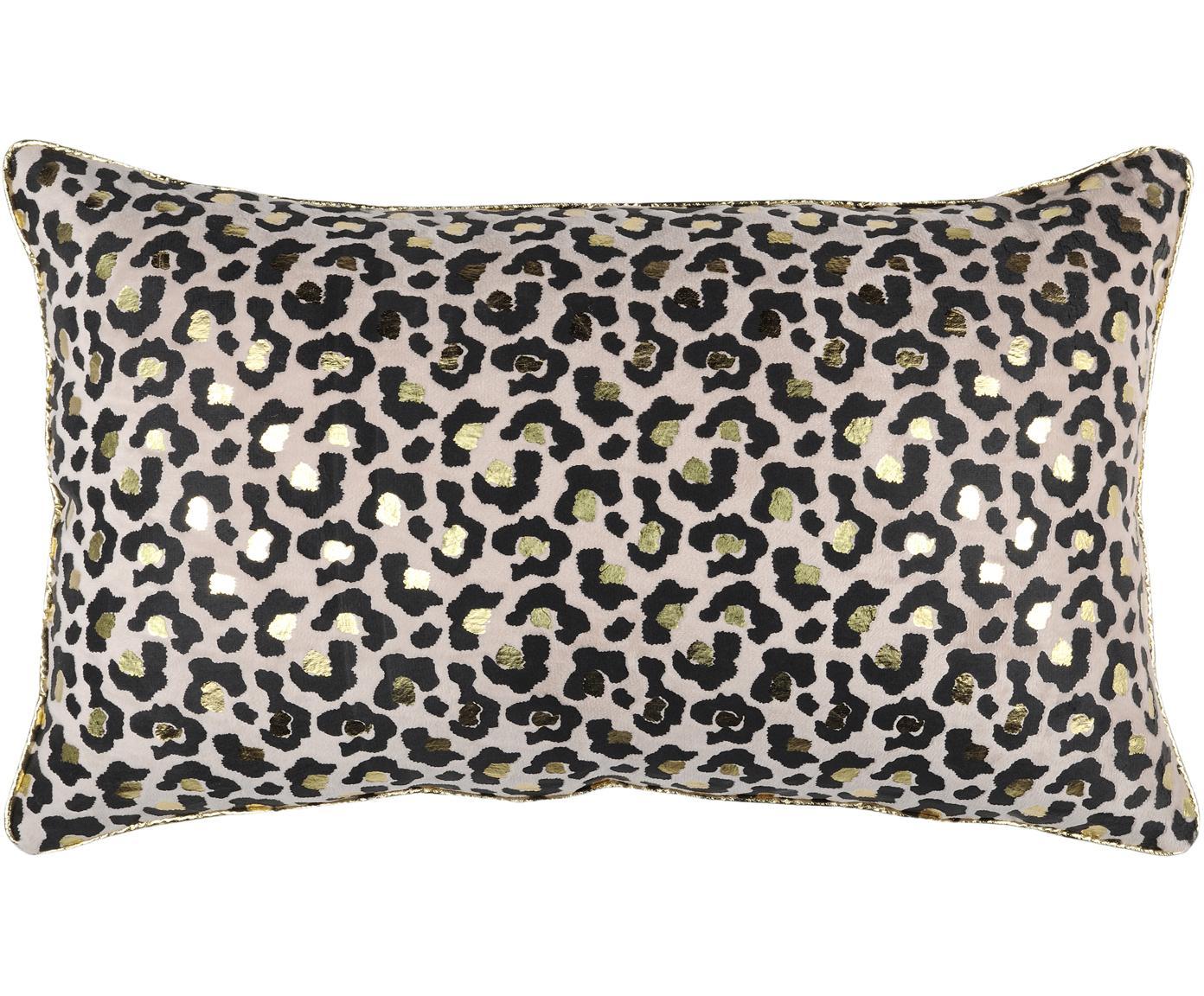 Kussen Jangal met luipaardpatroon  en goudkleurige details, met vulling, 100% polyester, Zwart, beige, goudkleurig, 30 x 50 cm