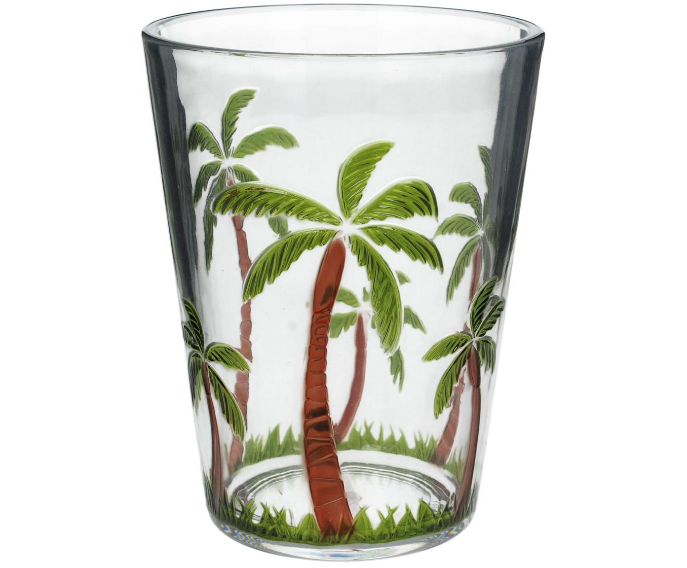 Bicchiere acqua in acrilico Gabrielle, Acrilico, Trasparente, verde, marrone, Ø 9 x Alt. 12 cm