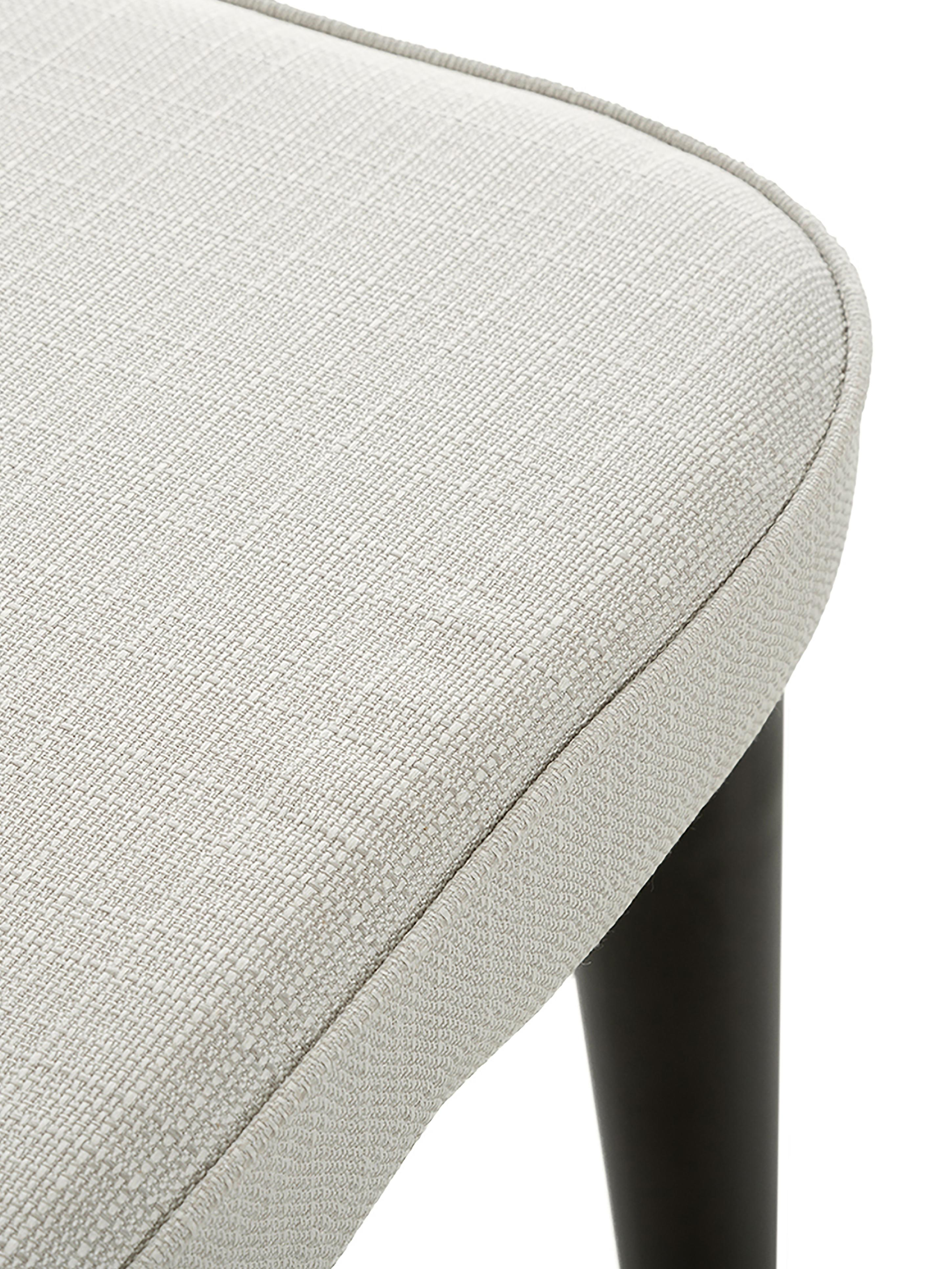 Klassischer Polsterstuhl Cleo, Bezug: Polyester Der hochwertige, Beine: Metall, pulverbeschichtet, Webstoff Cremeweiß, 51 x 62 cm