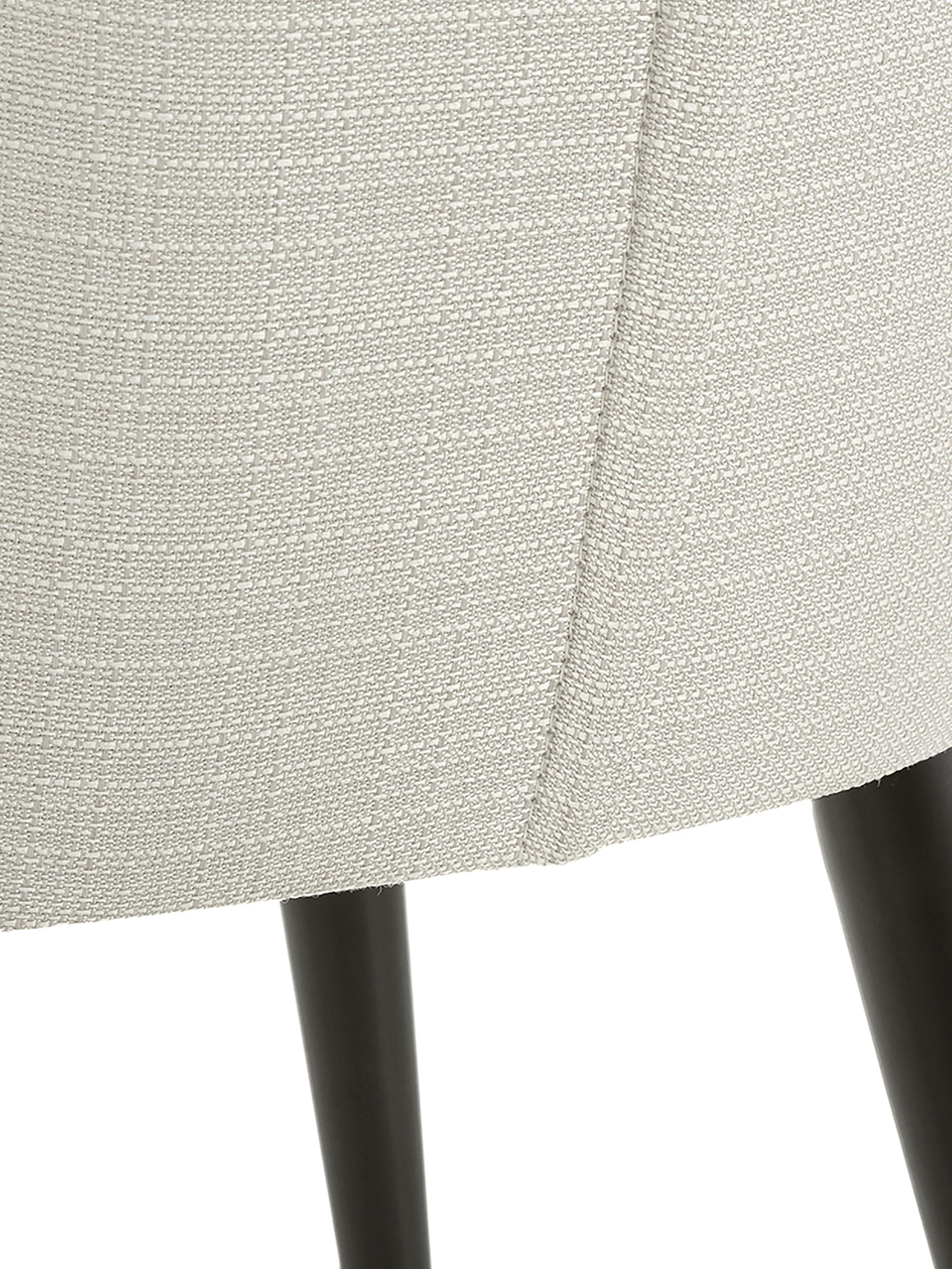 Klassischer Polsterstuhl Cleo, Bezug: Polyester 50.000 Scheuert, Beine: Metall, pulverbeschichtet, Webstoff Cremeweiß, 51 x 62 cm