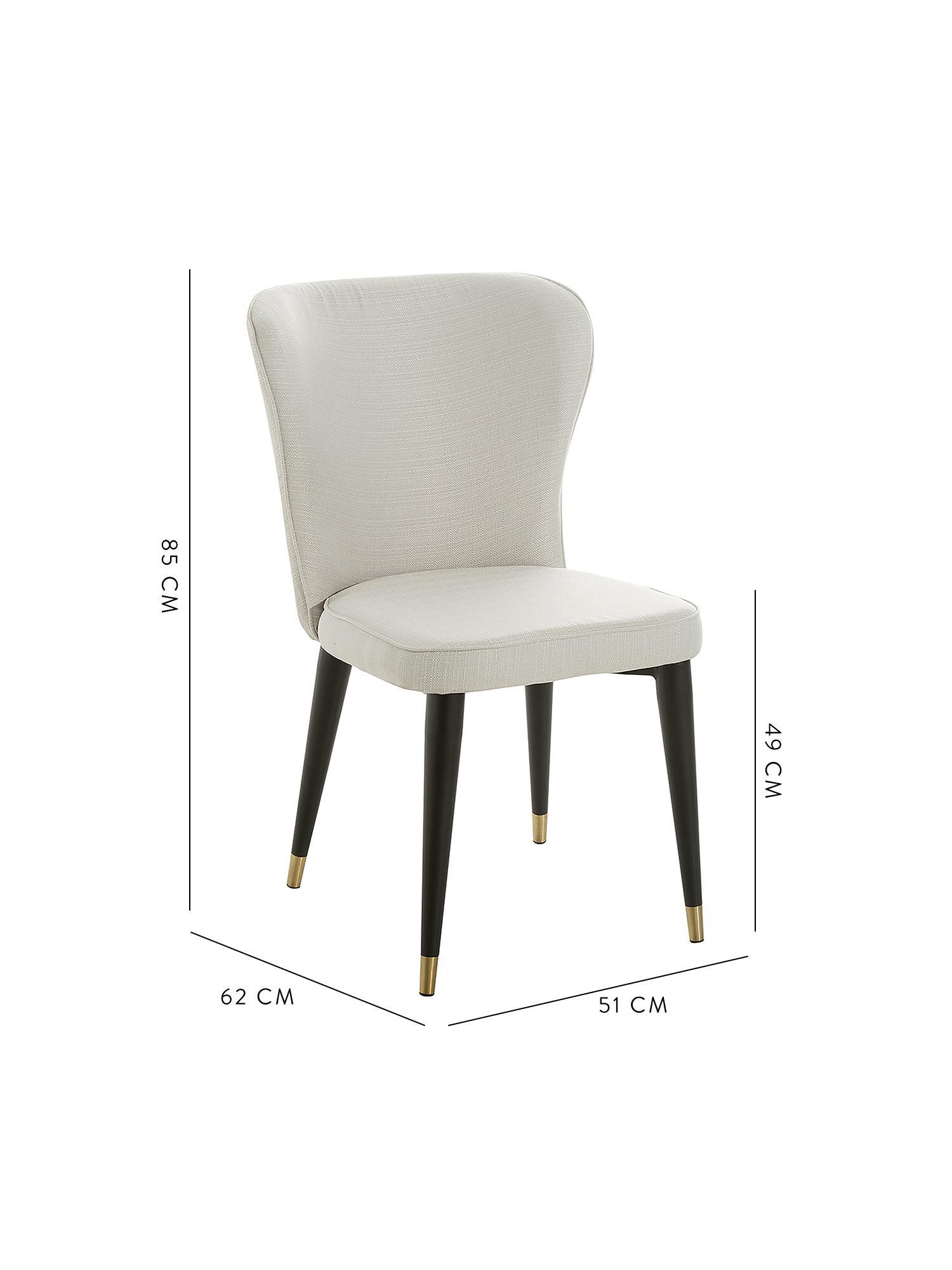 Gestoffeerde stoel Cleo, Bekleding: polyester, Poten: gepoedercoat metaal, Geweven stof crèmewit, 51 x 62 cm