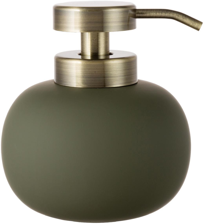 Dozownik do mydła Lotus, Zielony oliwkowy, odcienie mosiądzu, Ø 11 x W 13 cm