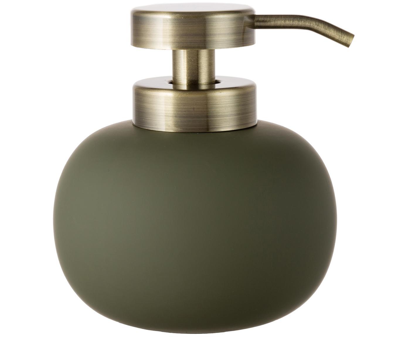 Keramik-Seifenspender Lotus, Behälter: Keramik, Pumpkopf: Metall, Olivengrün, Messingfarben, Ø 11 x H 13 cm