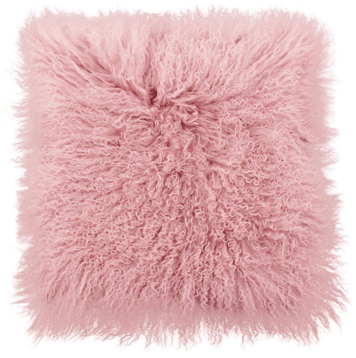 Kussenhoes van langharige schapenvacht Ella, gekruld, Roze, 40 x 40 cm
