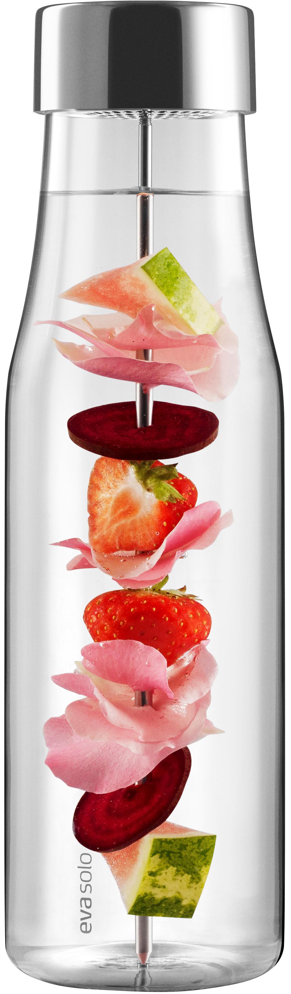 Bottiglia in vetro My Flavour, Coperchio: acciaio inossidabile, sil, Caraffa: trasparente Coperchio e spiedino: acciaio inossidabile, 1 l