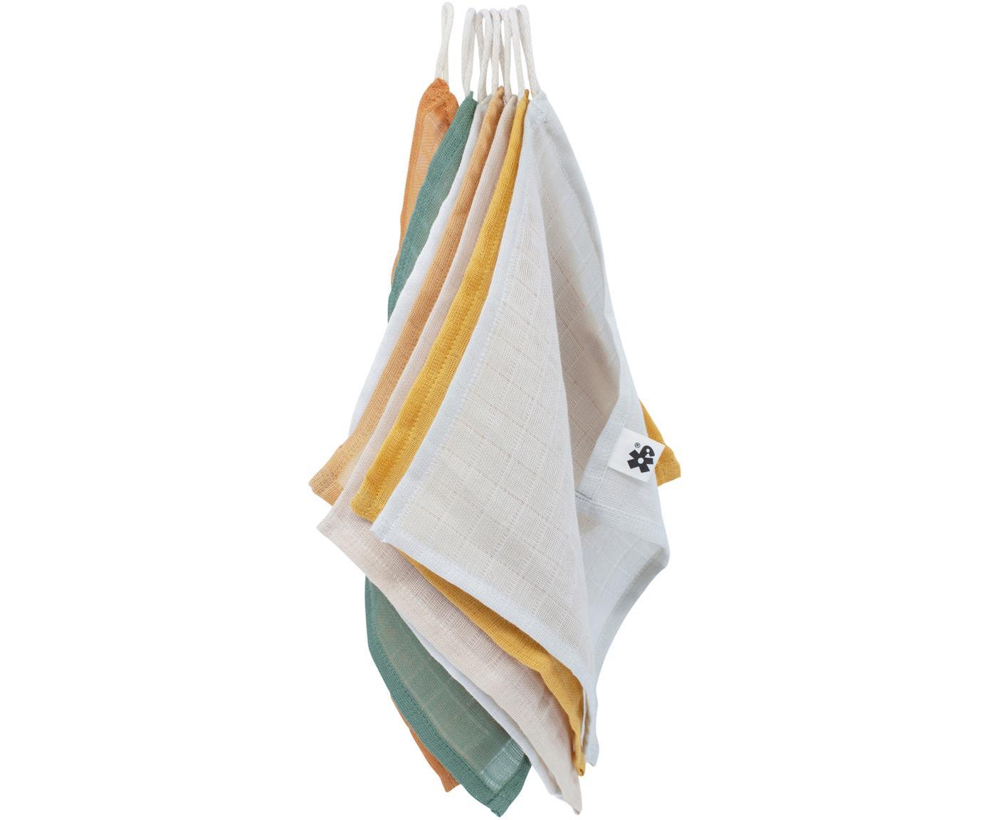 Set de manoplas de baño Marne, 7pzas., Algodón, certificado GOTS, Multicolor, An 20 x L 20 cm