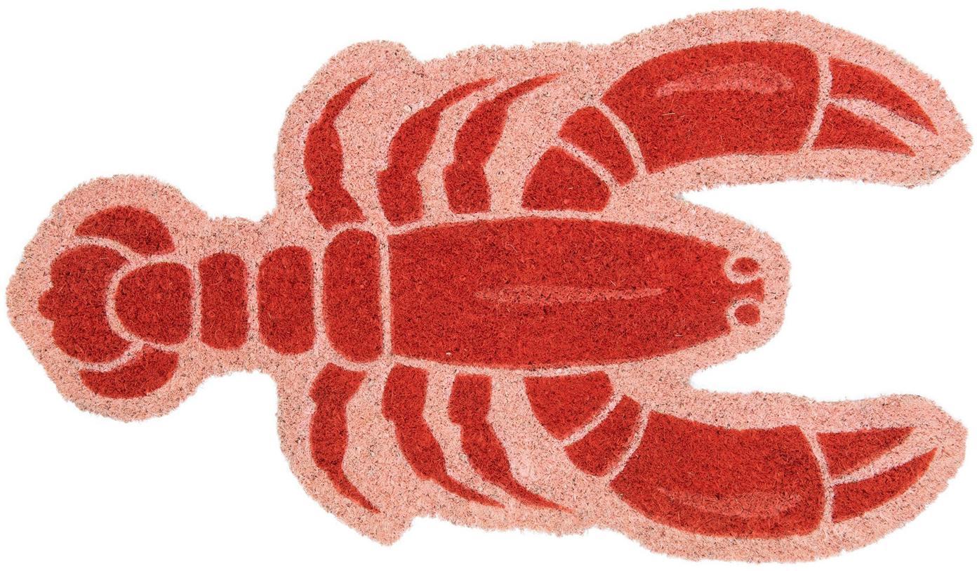 Wycieraczka Lobster, Włókno kokosowe, Blady różowy, czerwony, S 40 x D 70 cm