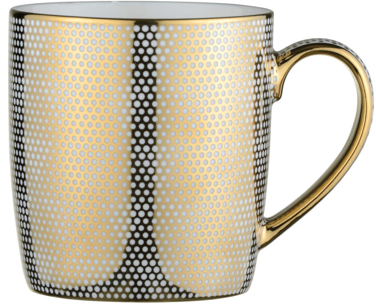 Mokken Dots, 4 stuks, Porselein, Wit, goudkleurig, Ø 9 x H 10 cm