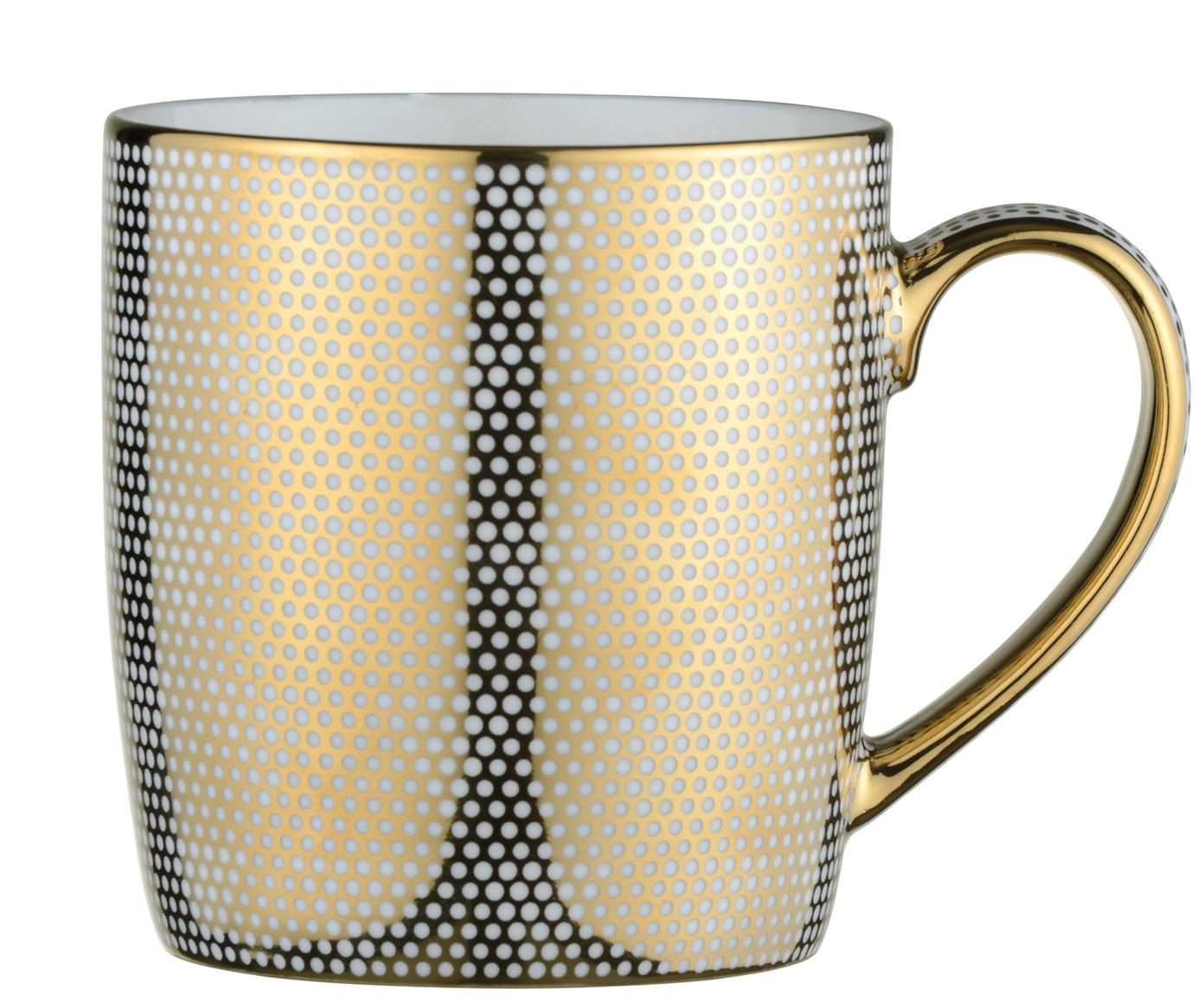 Tassen Dots, 4 Stück, Porzellan, Weiß, Goldfarben, Ø 9 x H 10 cm
